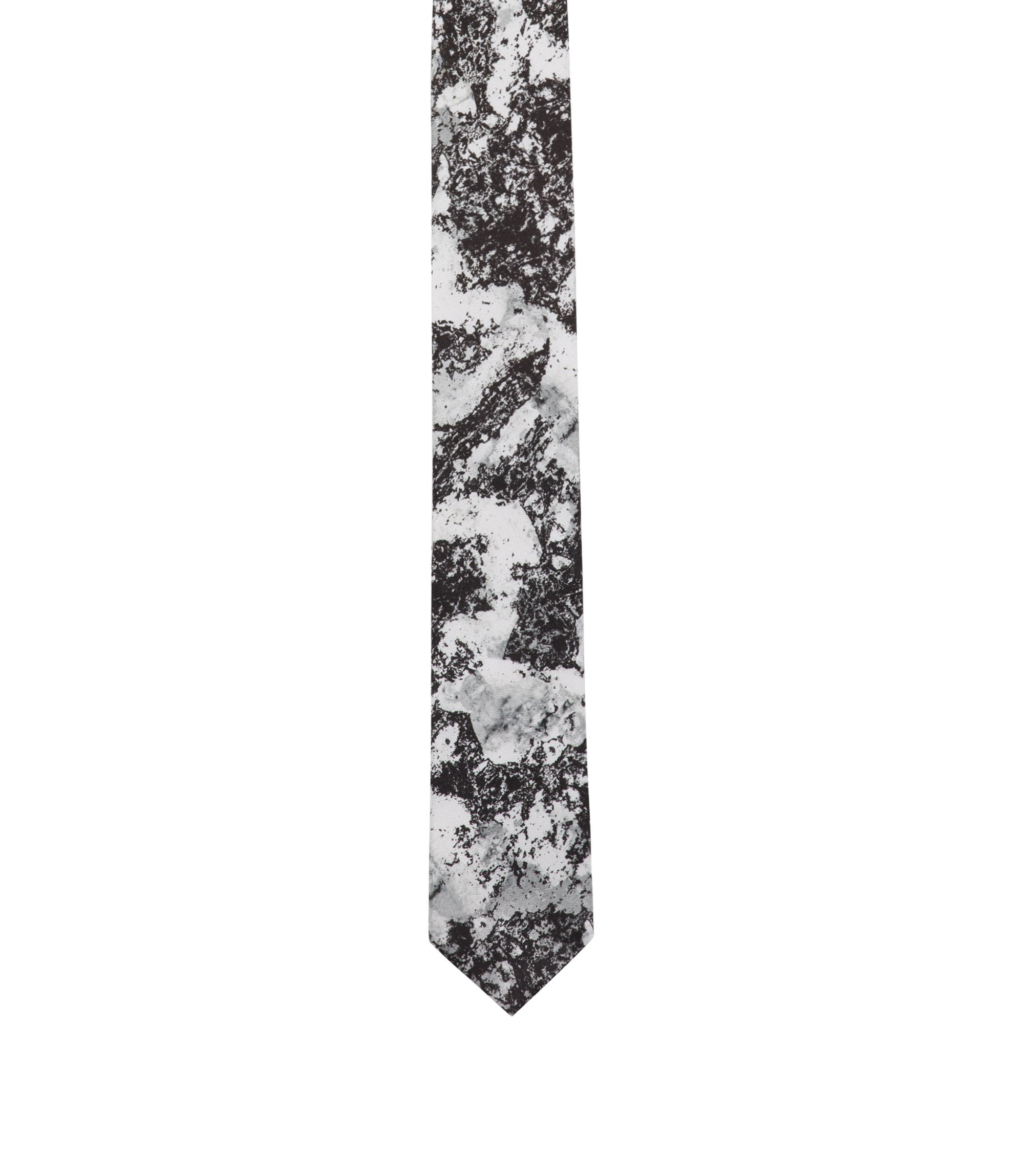 Silk tie with snow camouflage print, Black