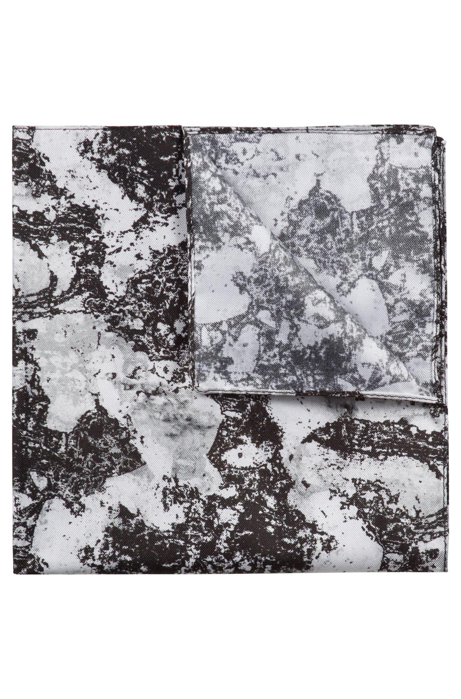 Einstecktuch aus Seide mit abstraktem Print, Schwarz