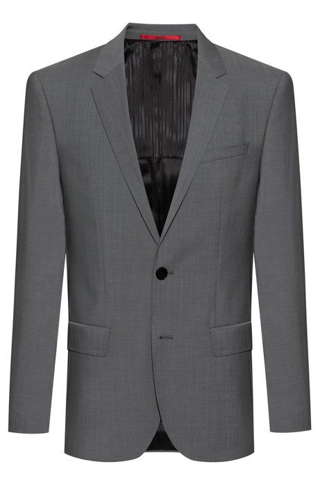 Slim-fit jacket in textured virgin wool, Grey
