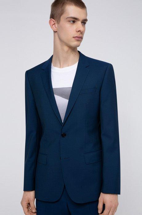 Slim-fit jacket in textured virgin wool, Blue