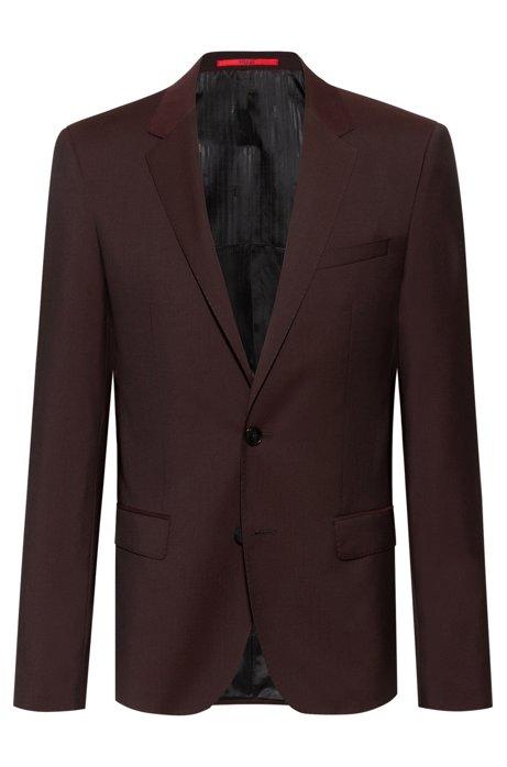 Giacca slim fit in lana vergine lavorata, Rosso scuro