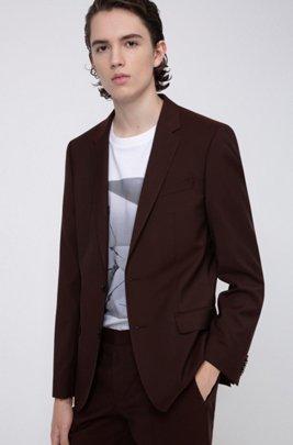 Veste Slim Fit en laine vierge texturée, Rouge sombre