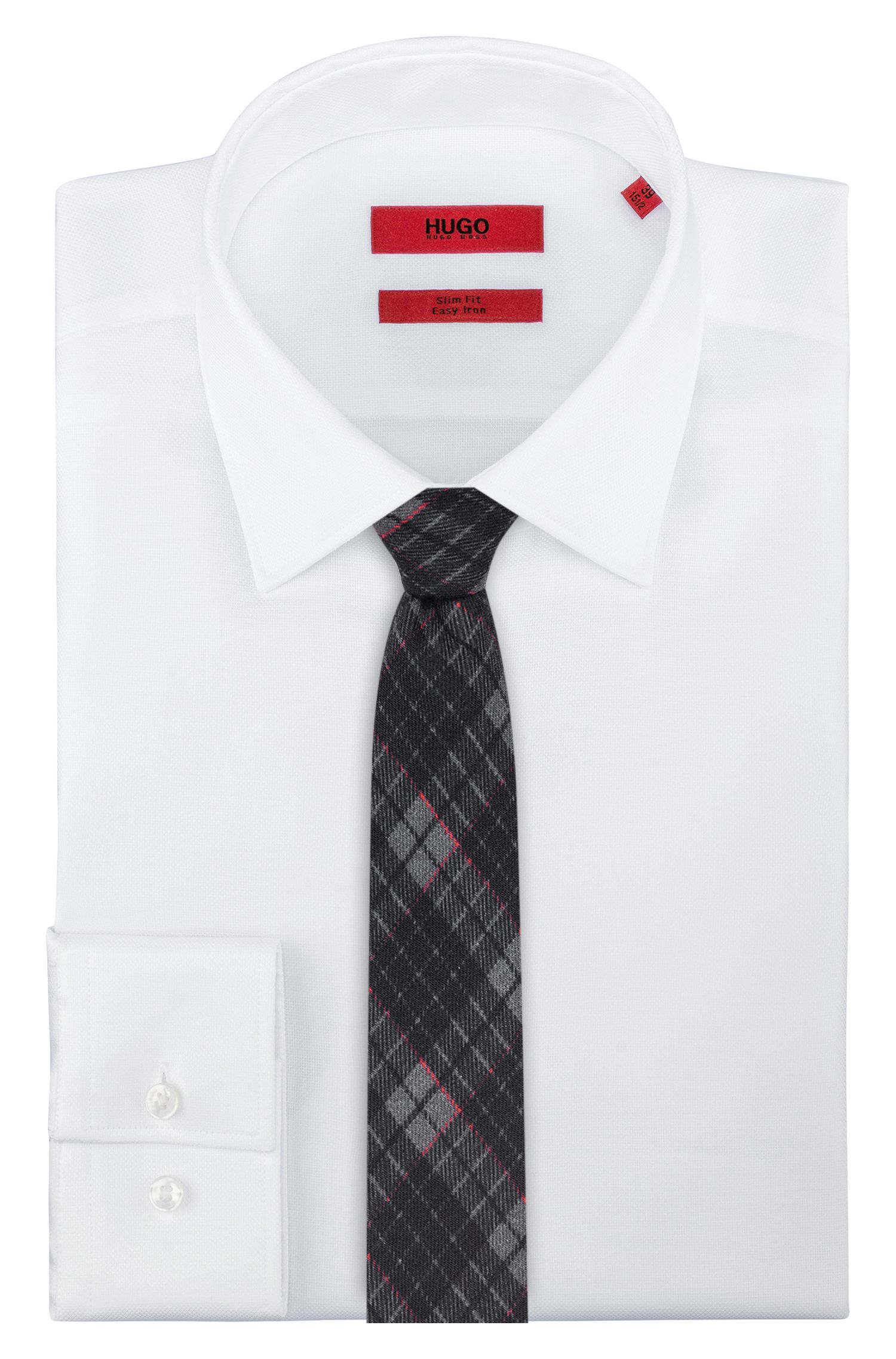 Checked tie in pure wool, Red