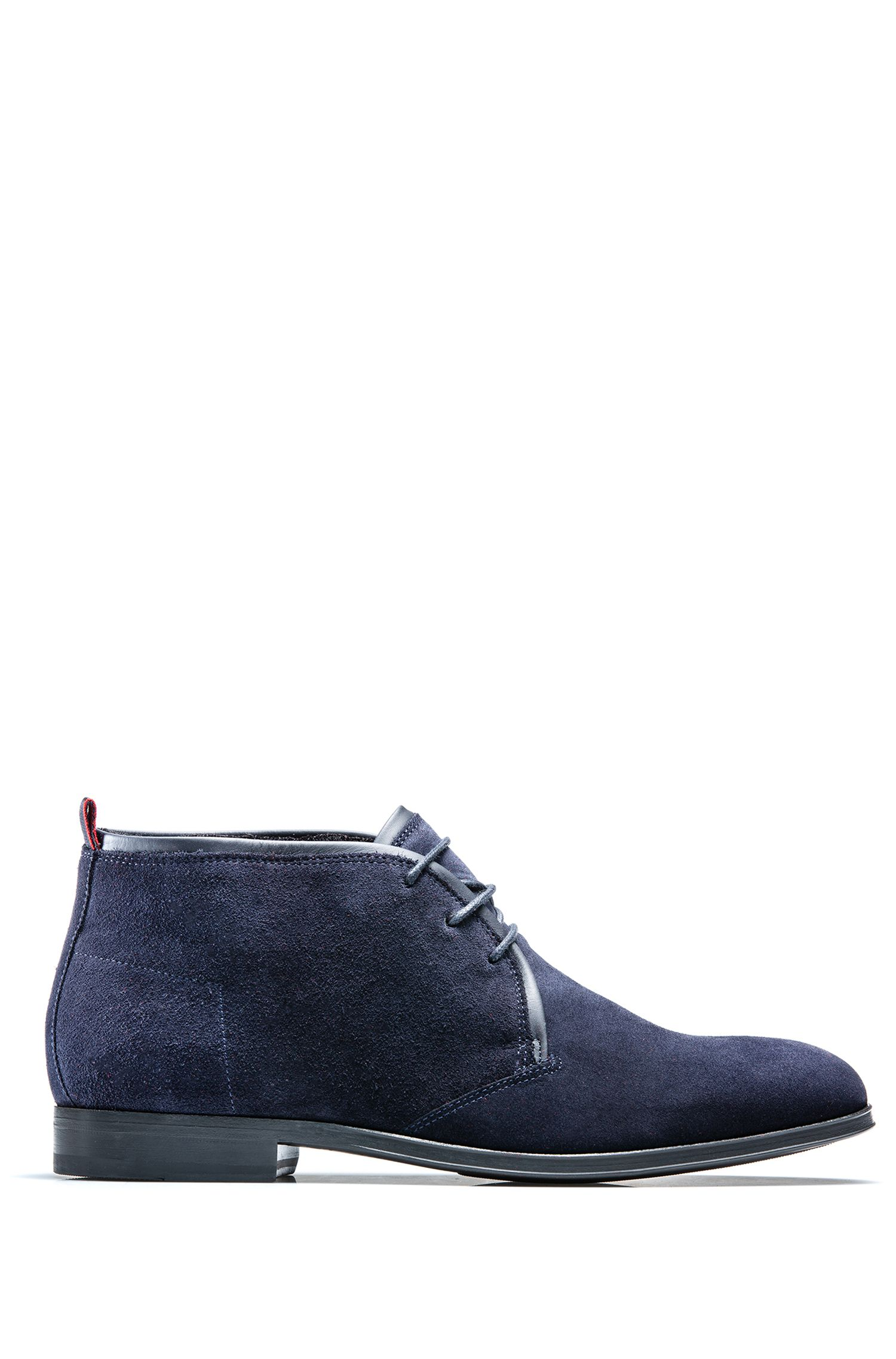 Desert boots in calf suede with faux-fur lining, Dark Blue