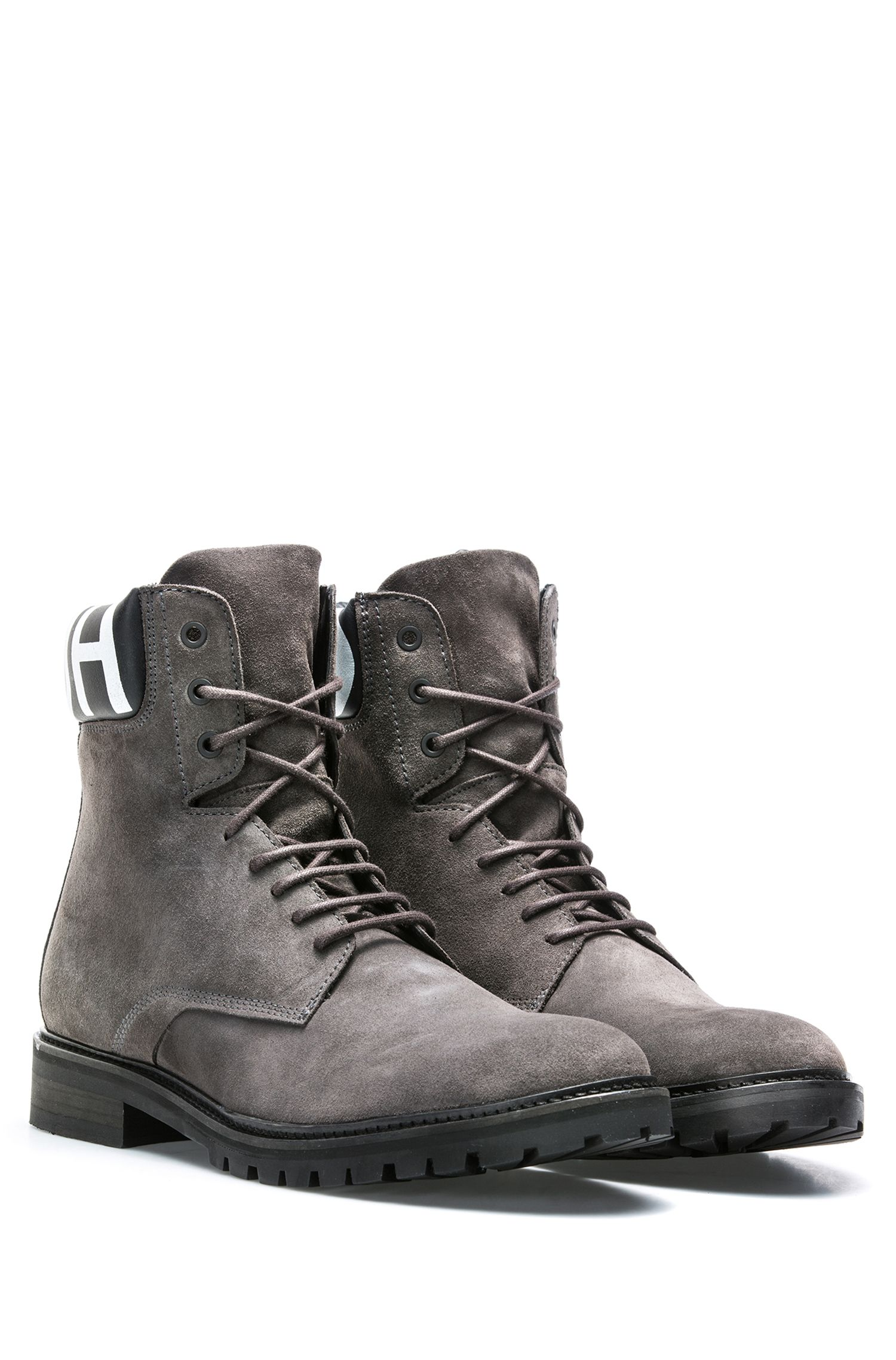 Lace-up suede boots with logo-print padded collar, Dark Grey