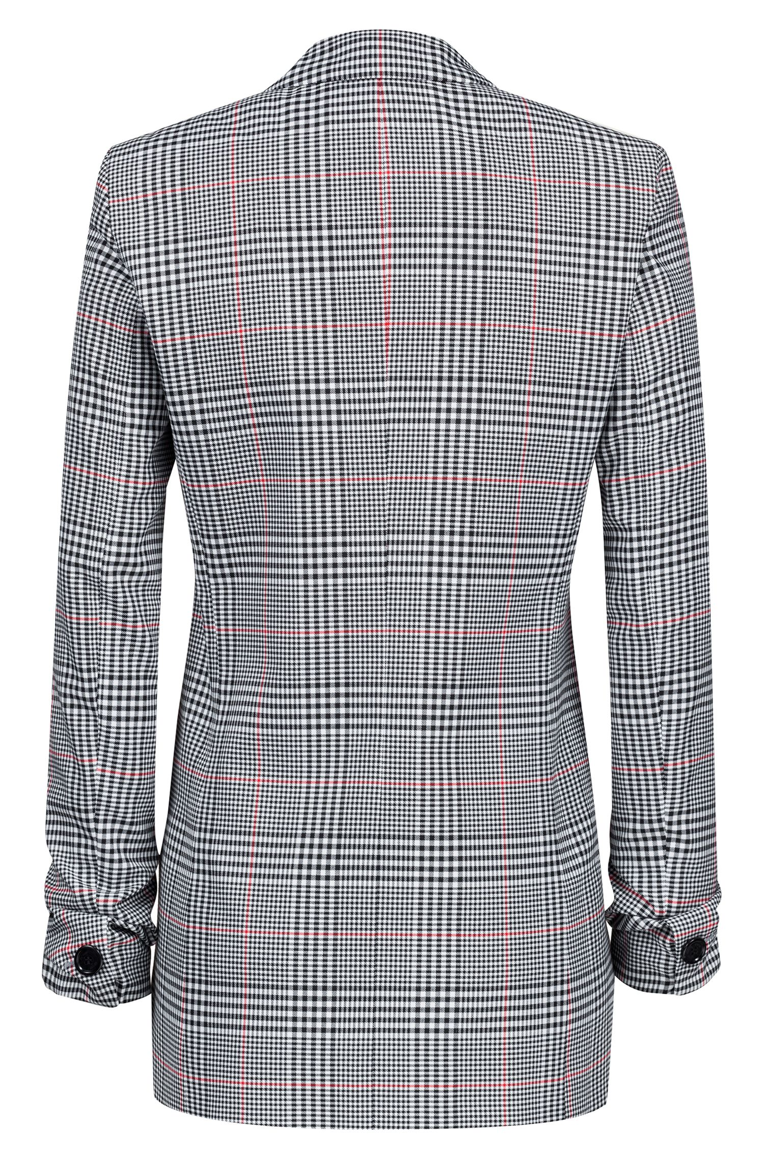 Regular-fit checked blazer with ruched sleeves