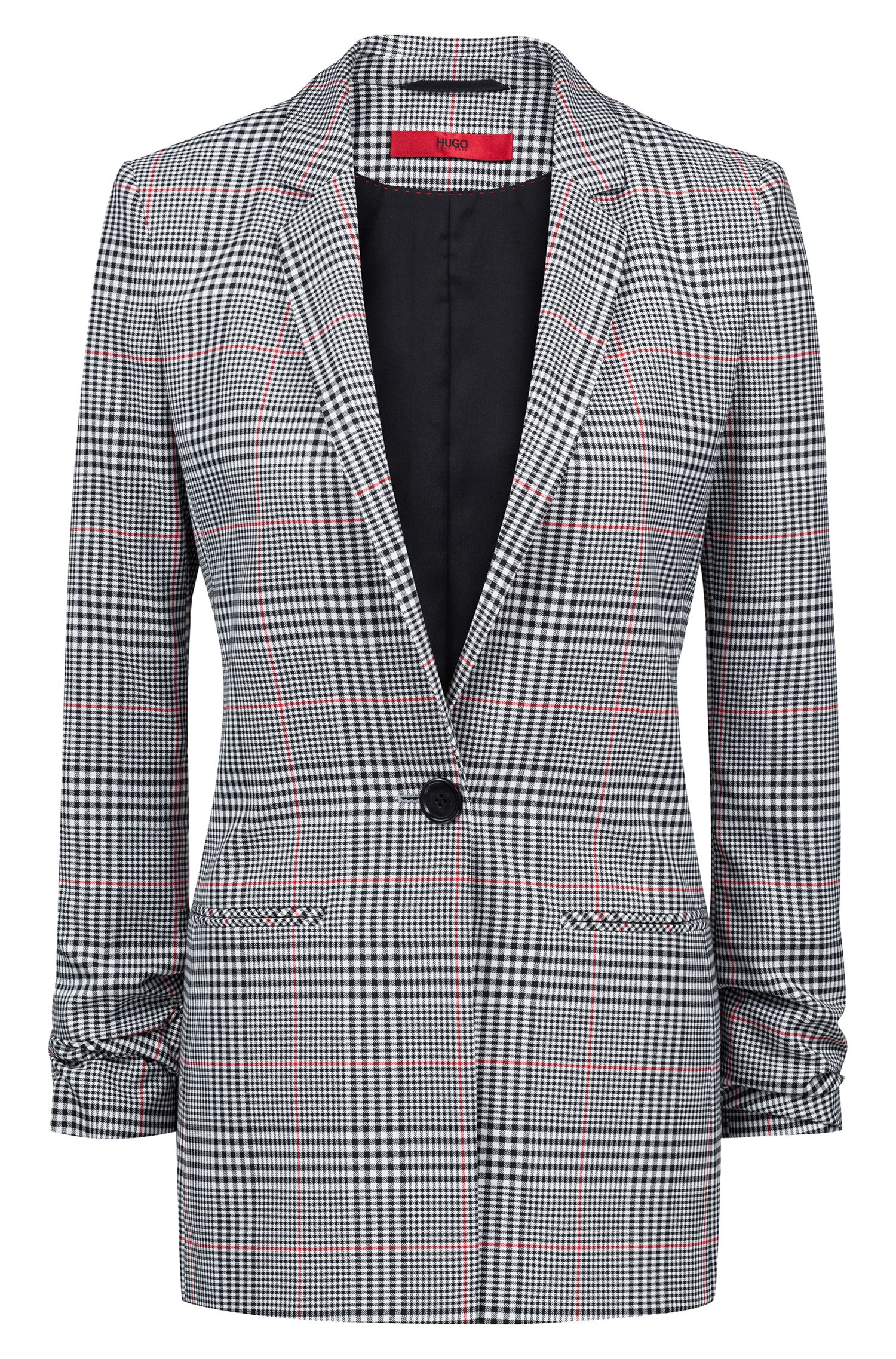 Regular-fit checked blazer with ruched sleeves, Patterned