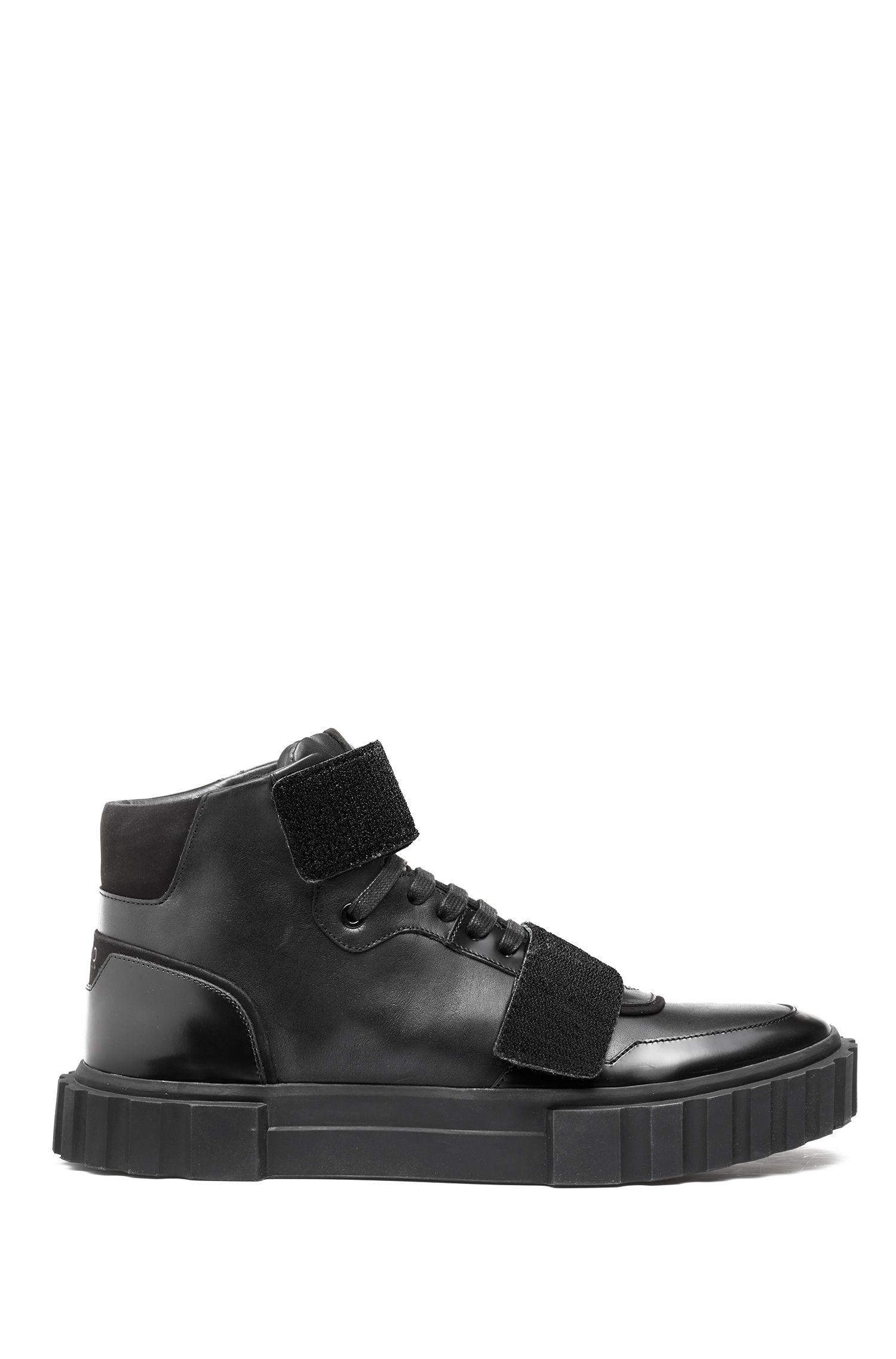Sneakers high-top con applicazioni a strappo personalizzabili, Nero