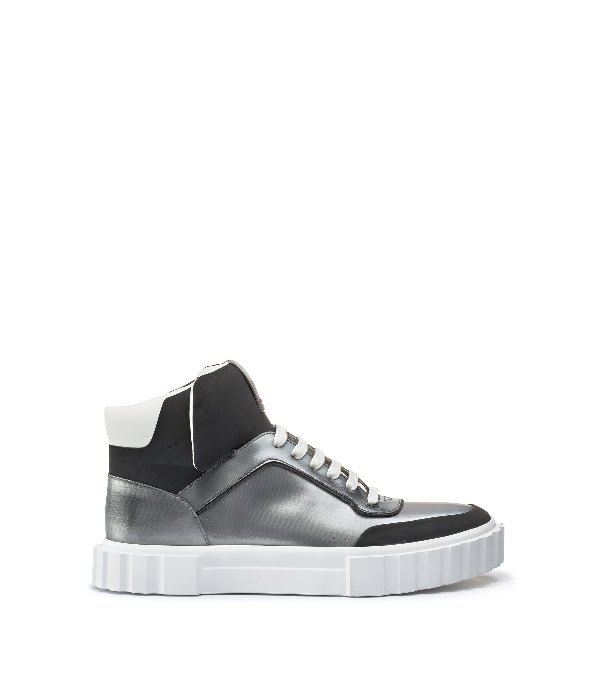High-top lace-up trainers with metallic finish, Silver