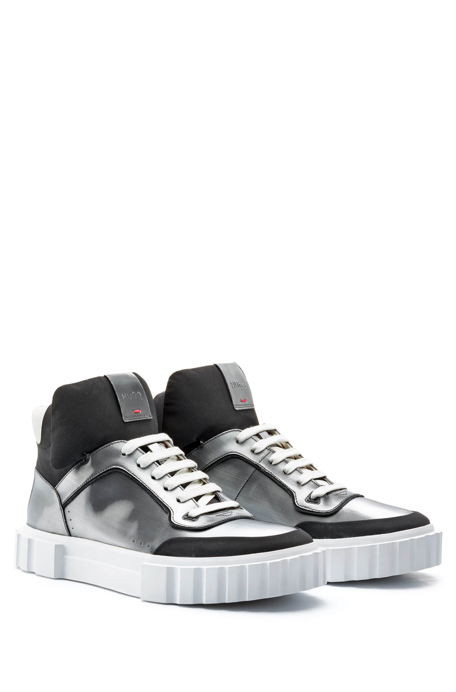 Sneakers high-top stringate con finitura metallizzata, Argento