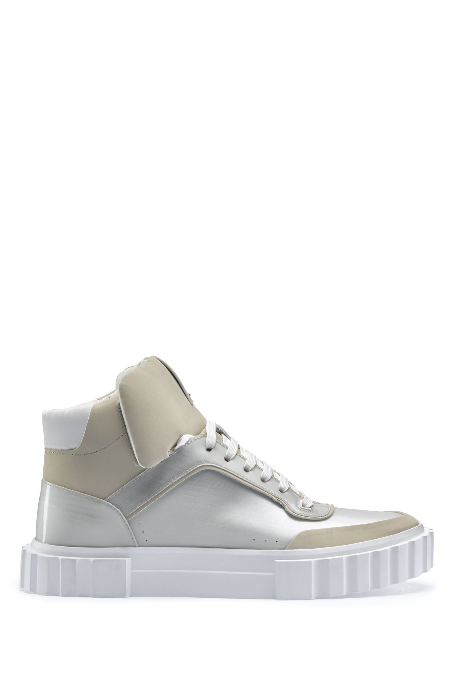 High-top lace-up trainers with metallic finish, Light Grey