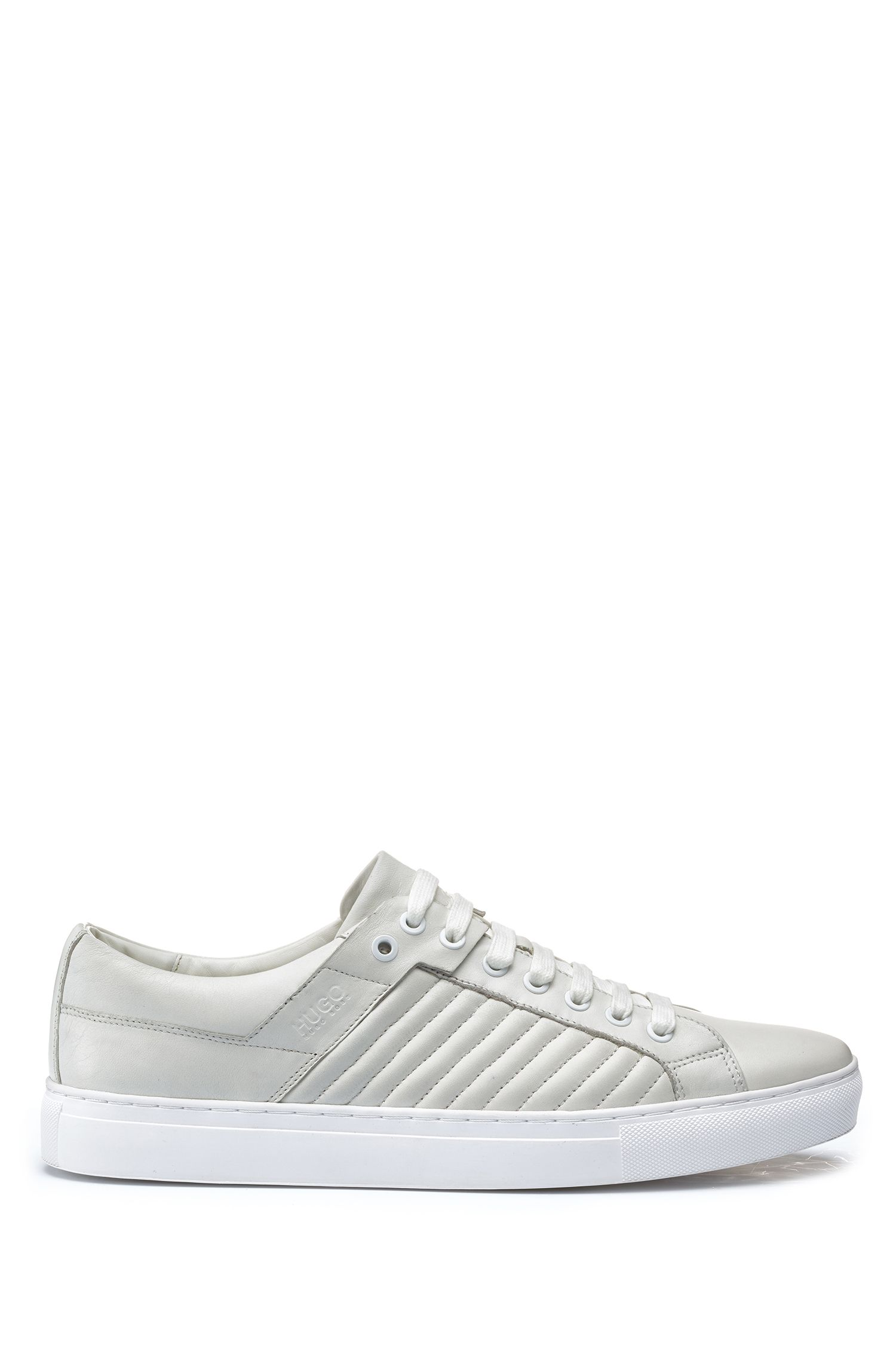 Tennis-style trainers in lambskin with matelassé detailing, White