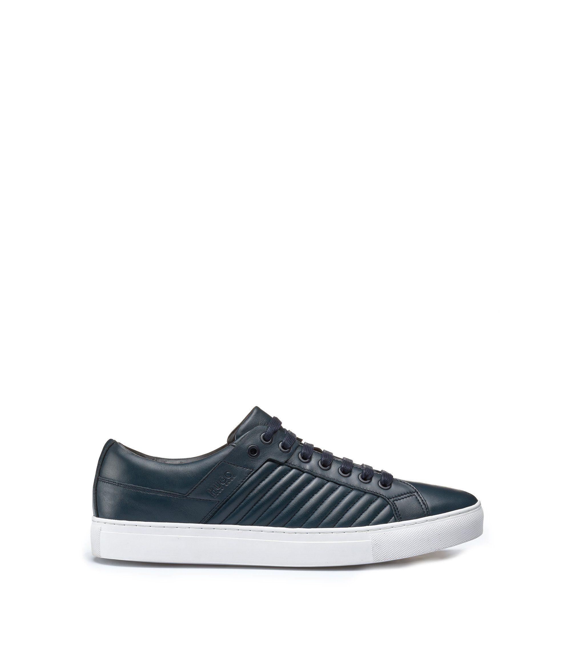 Tennis-style trainers in lambskin with matelassé detailing, Dark Blue