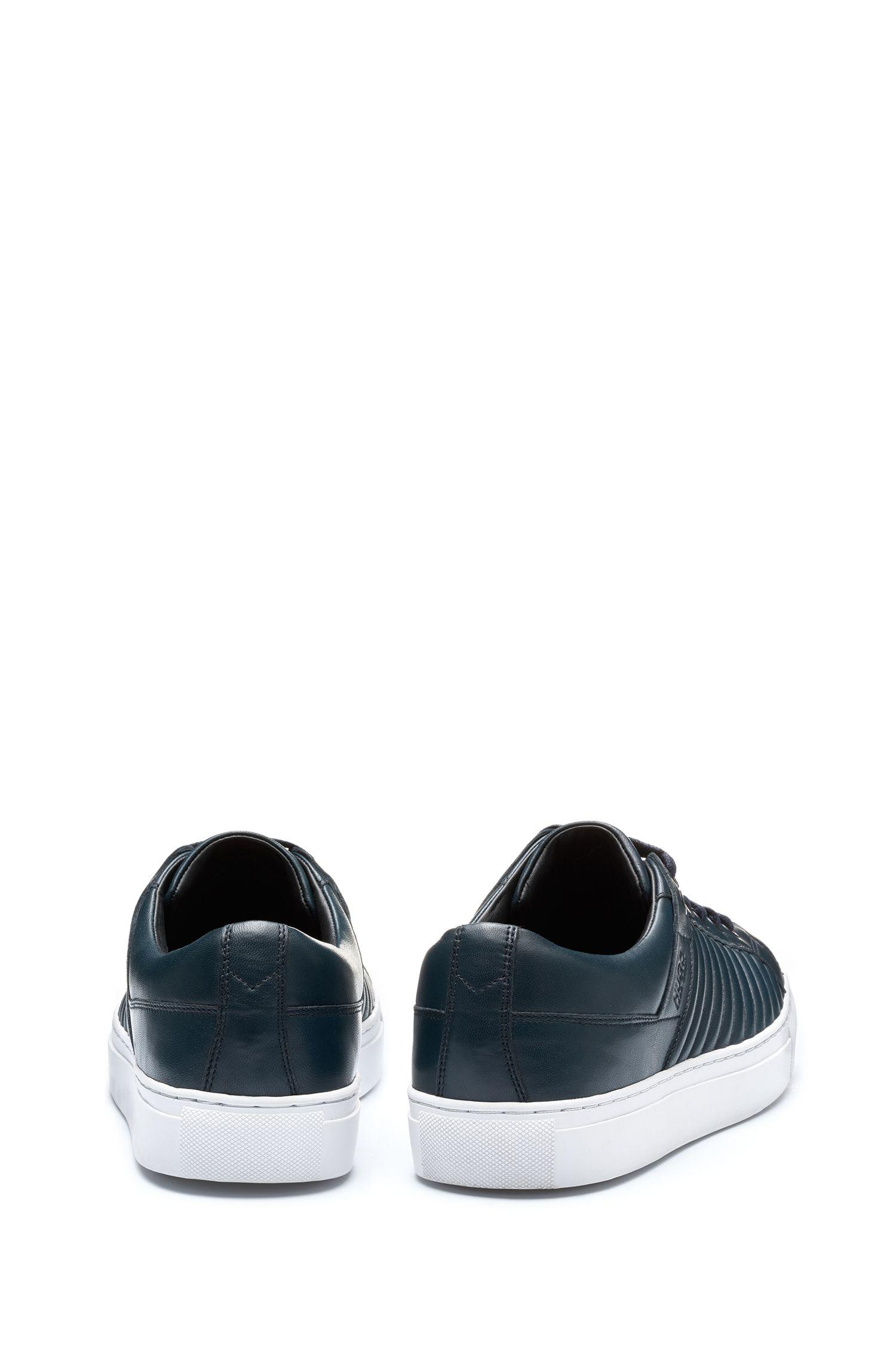Sneakers in tennisstijl, van lamsleer met matelassé-details, Donkerblauw