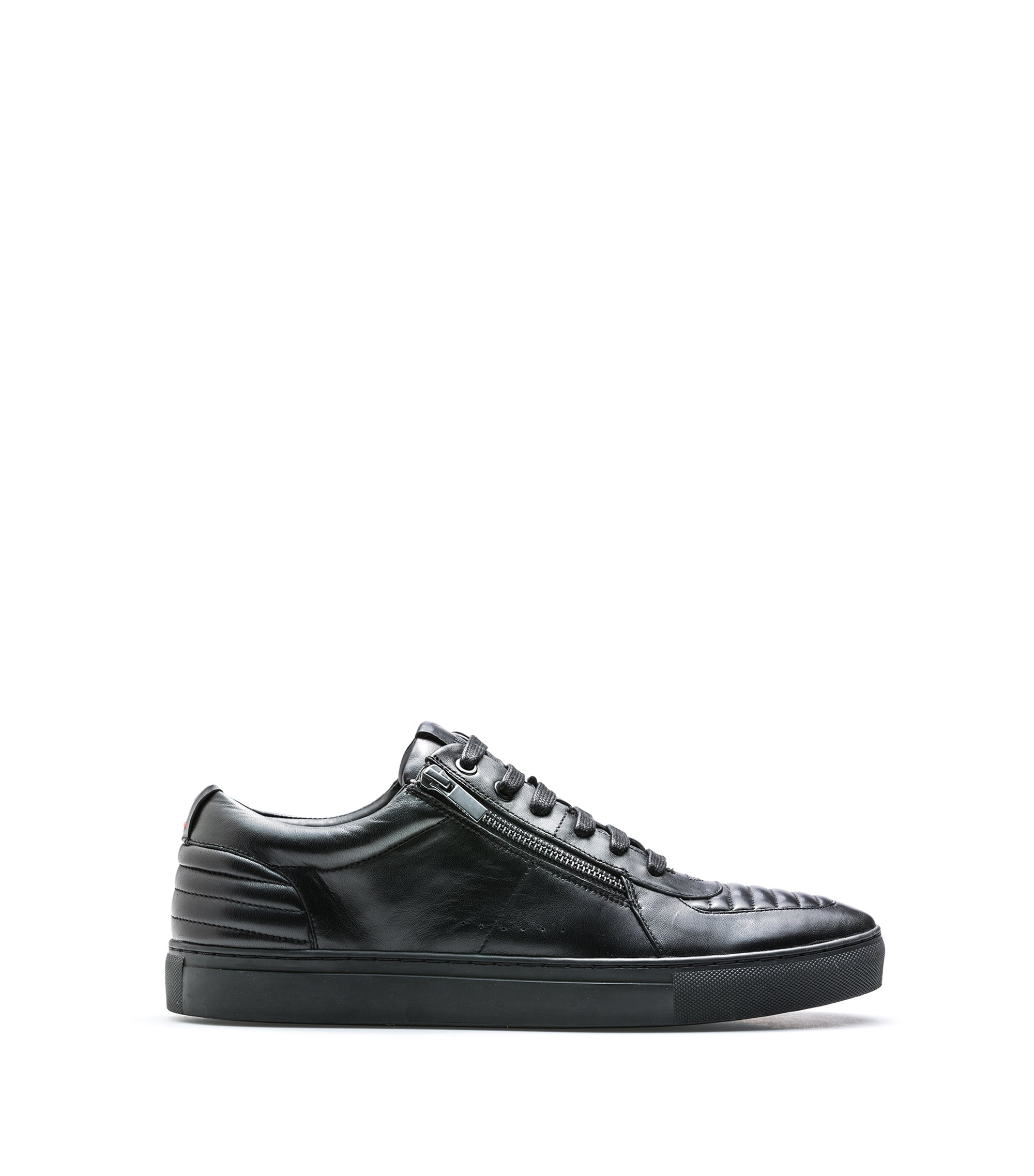 Tennis-style trainers in nappa lambskin with quilting details, Black