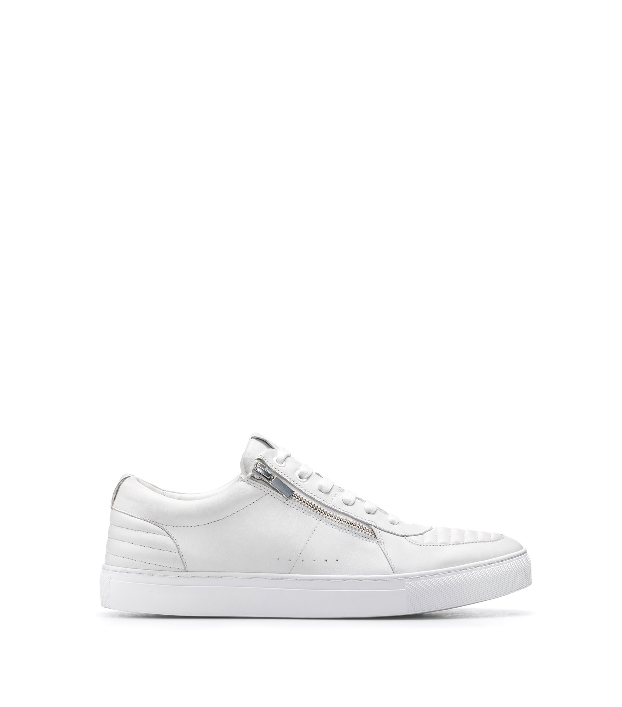 Tennis-style trainers in nappa lambskin with quilting details, White