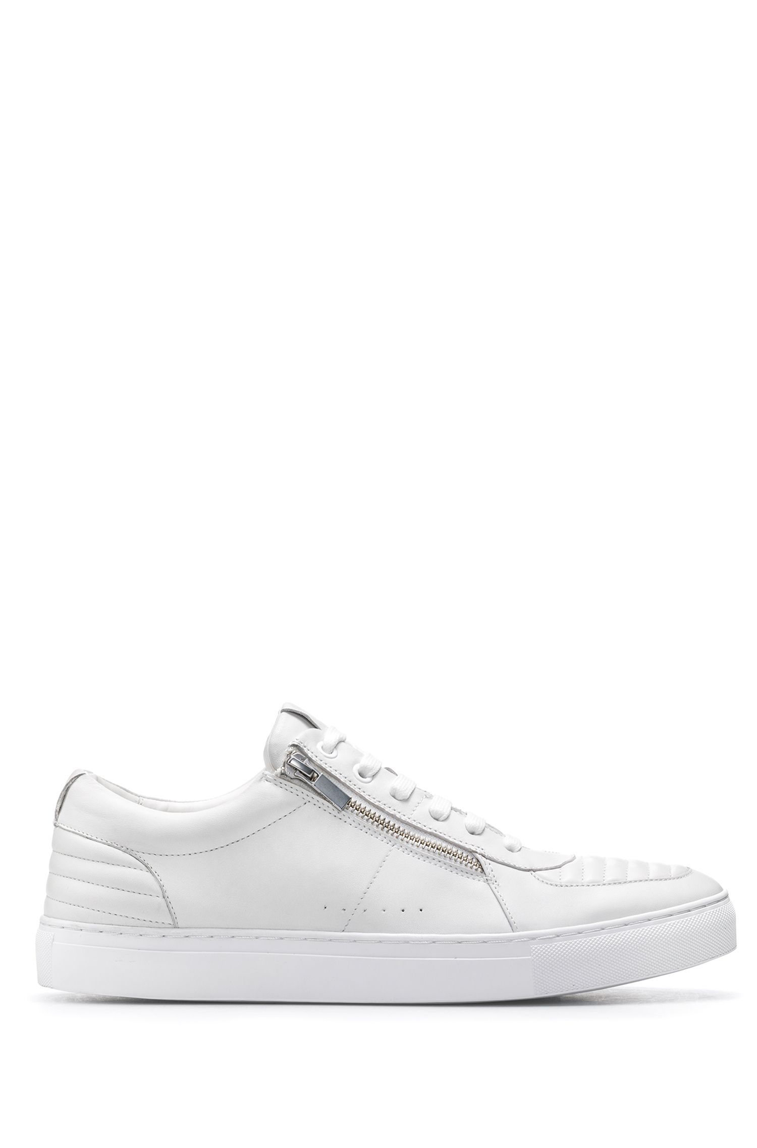 Tennis-style trainers in nappa lambskin with quilting details
