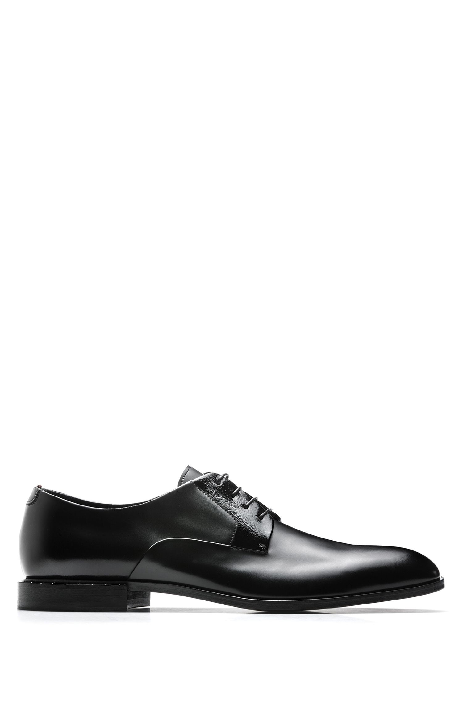 Derby shoes in smooth and printed calf leather, Black