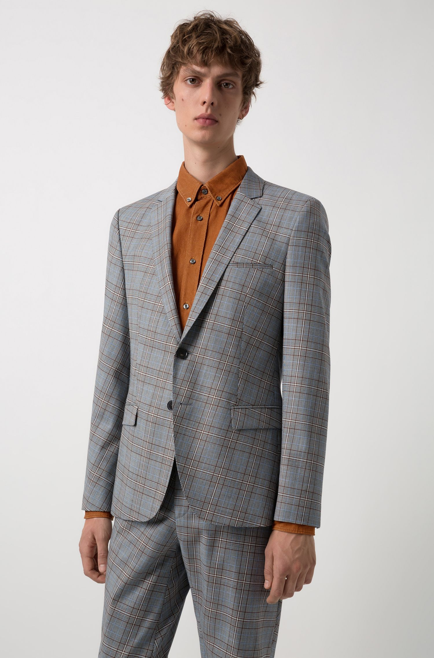 Extra-slim-fit virgin-wool suit with turned check pattern, Patterned