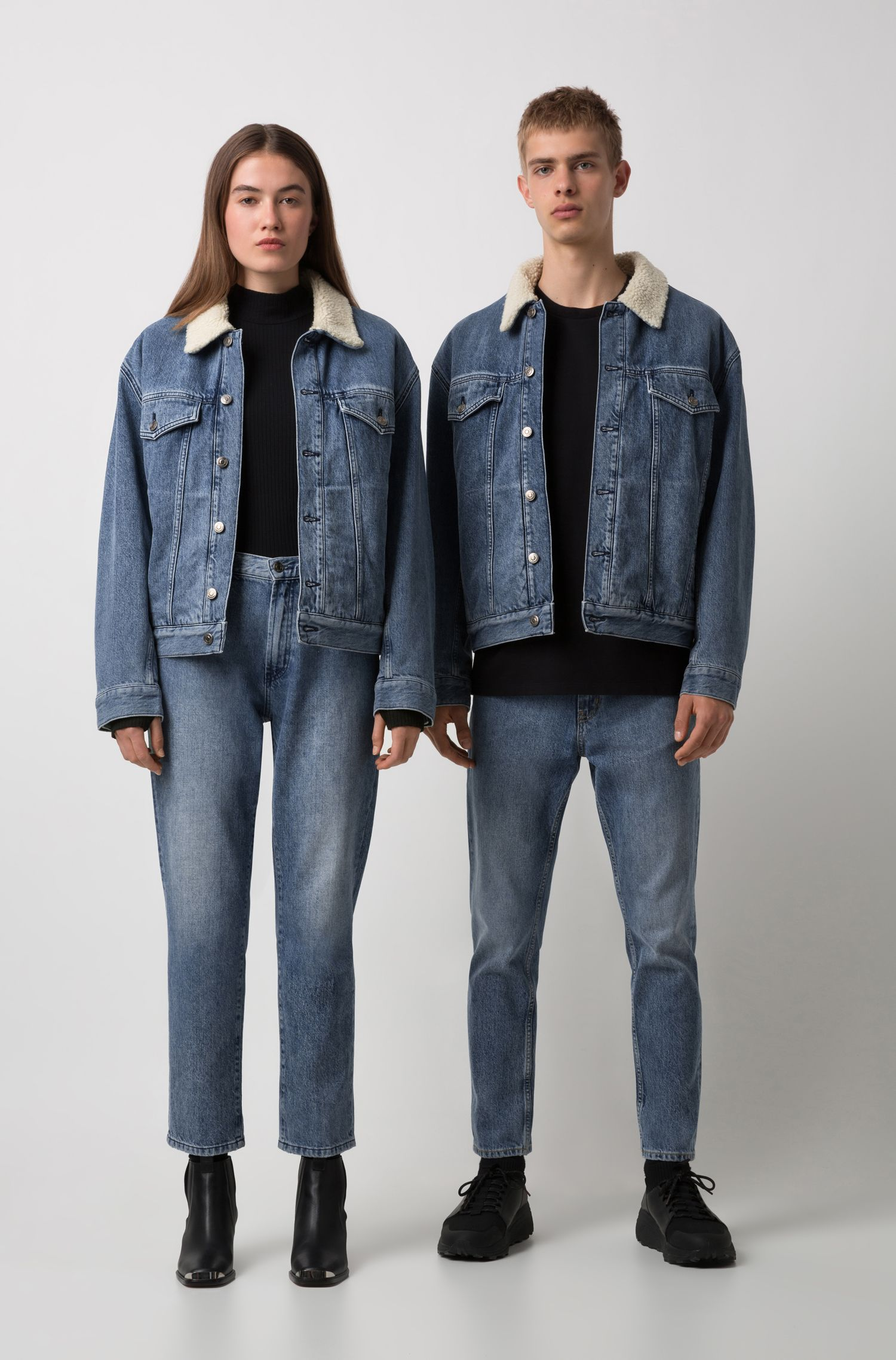 Unisex Italian-denim jacket with fleece collar, Blue