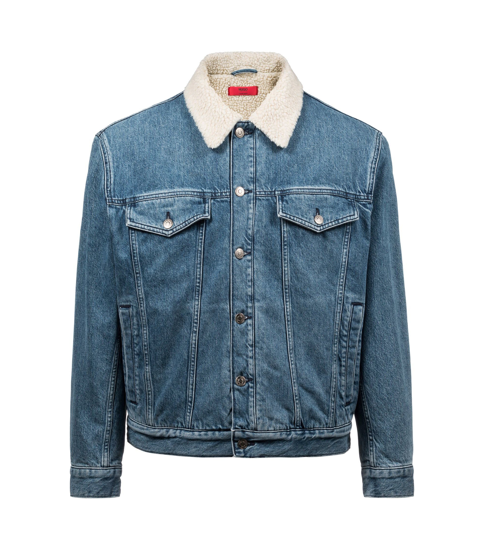 Unisex Italian-denim jacket with fleece collar, Blue