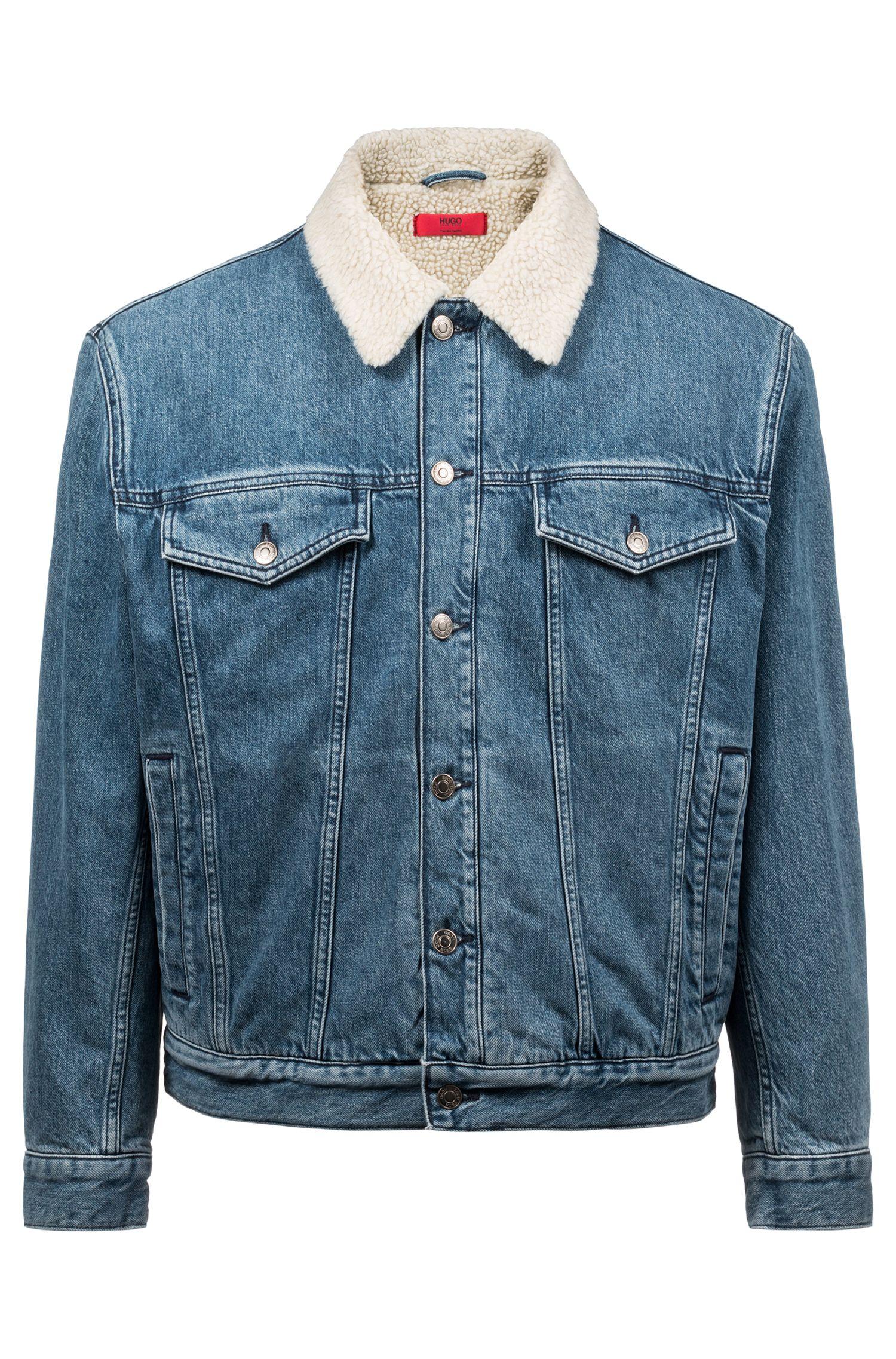 Unisex-Jeansjacke aus italienischem Denim mit Fleece-Kragen, Blau