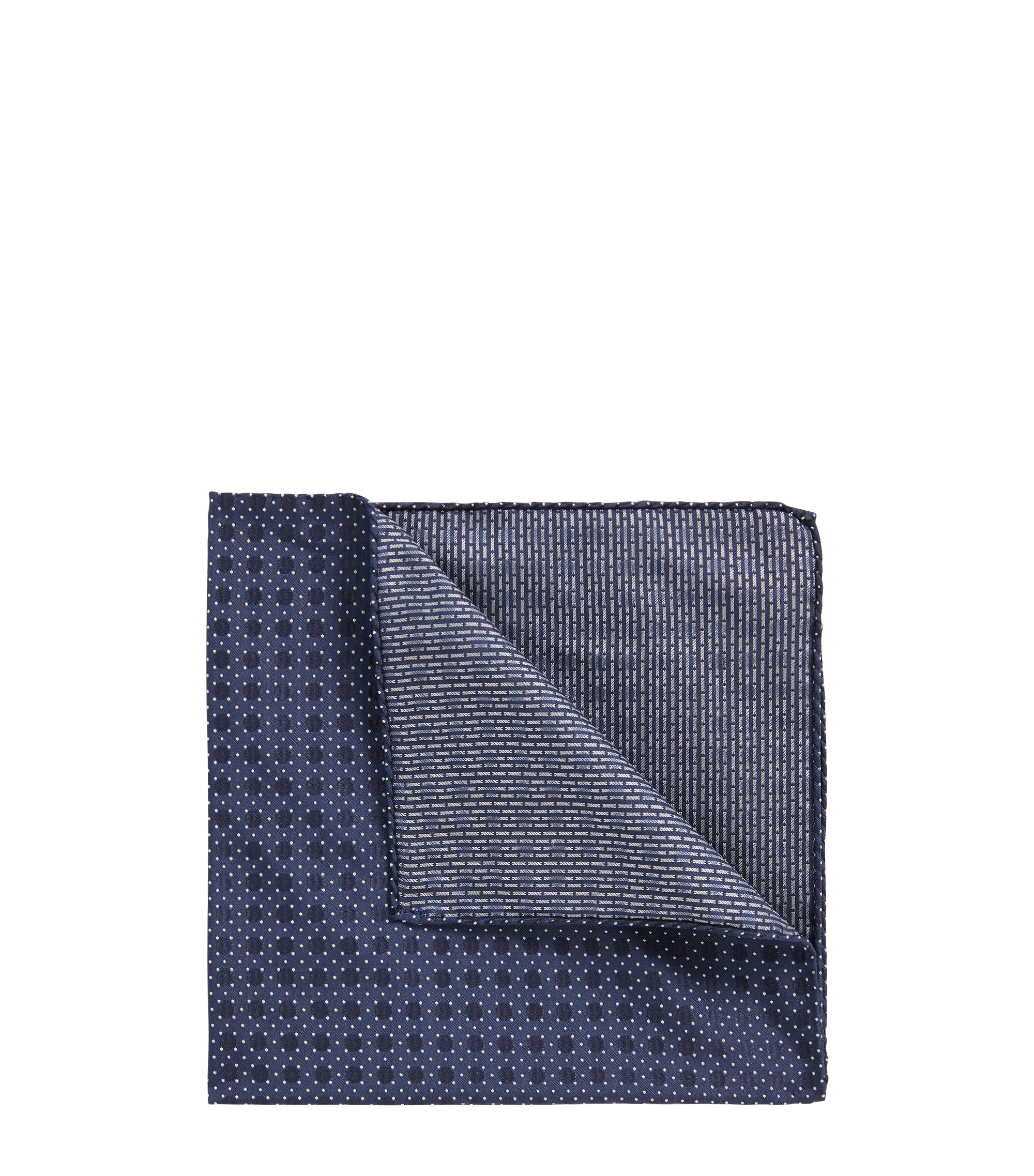 Italian-made patterned pocket square in silk jacquard, Blue