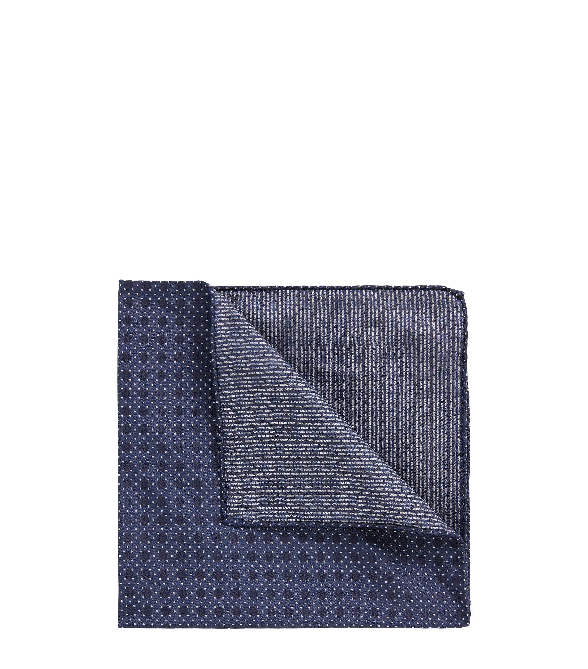 Pañuelo de bolsillo estampado en jacquard de seda de fabricación italiana, Azul