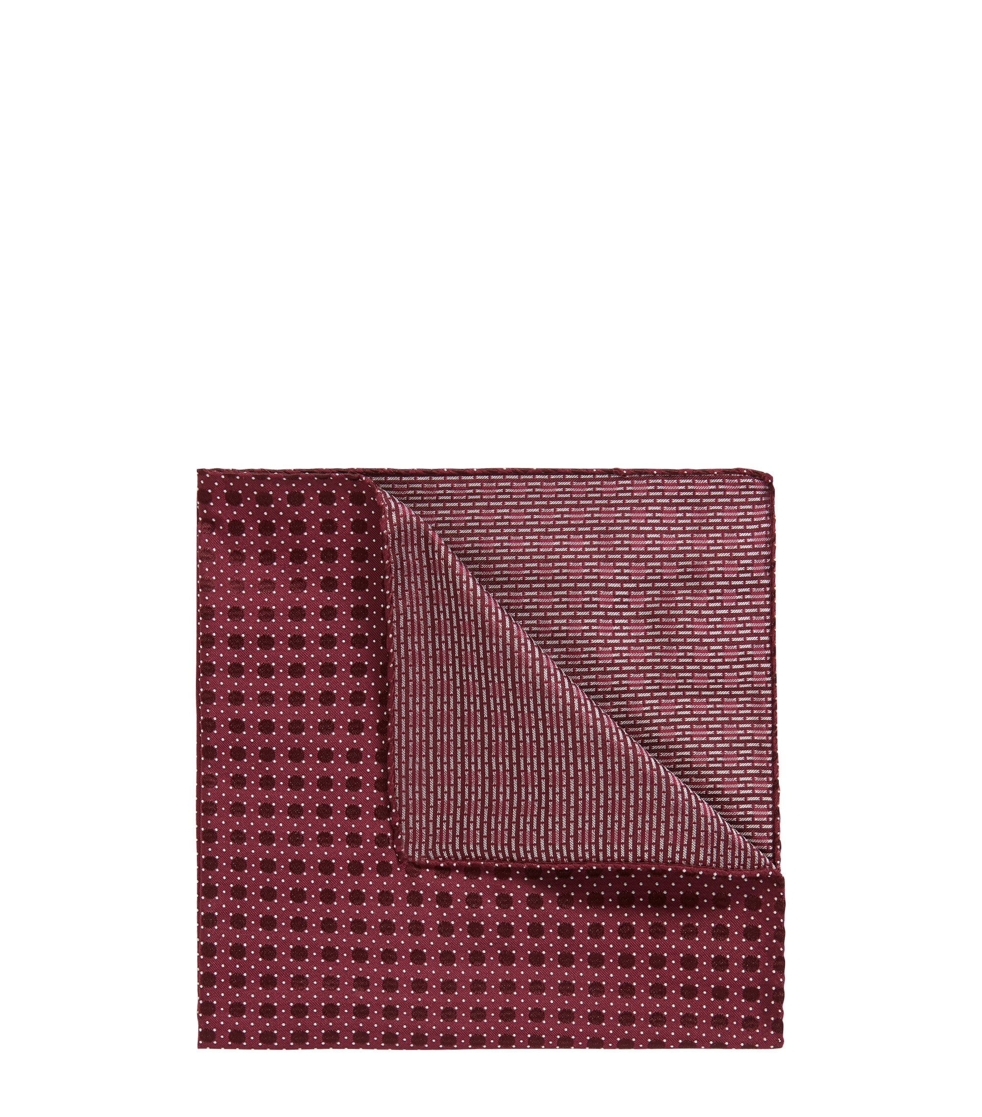 Italian-made patterned pocket square in silk jacquard, Dark Red