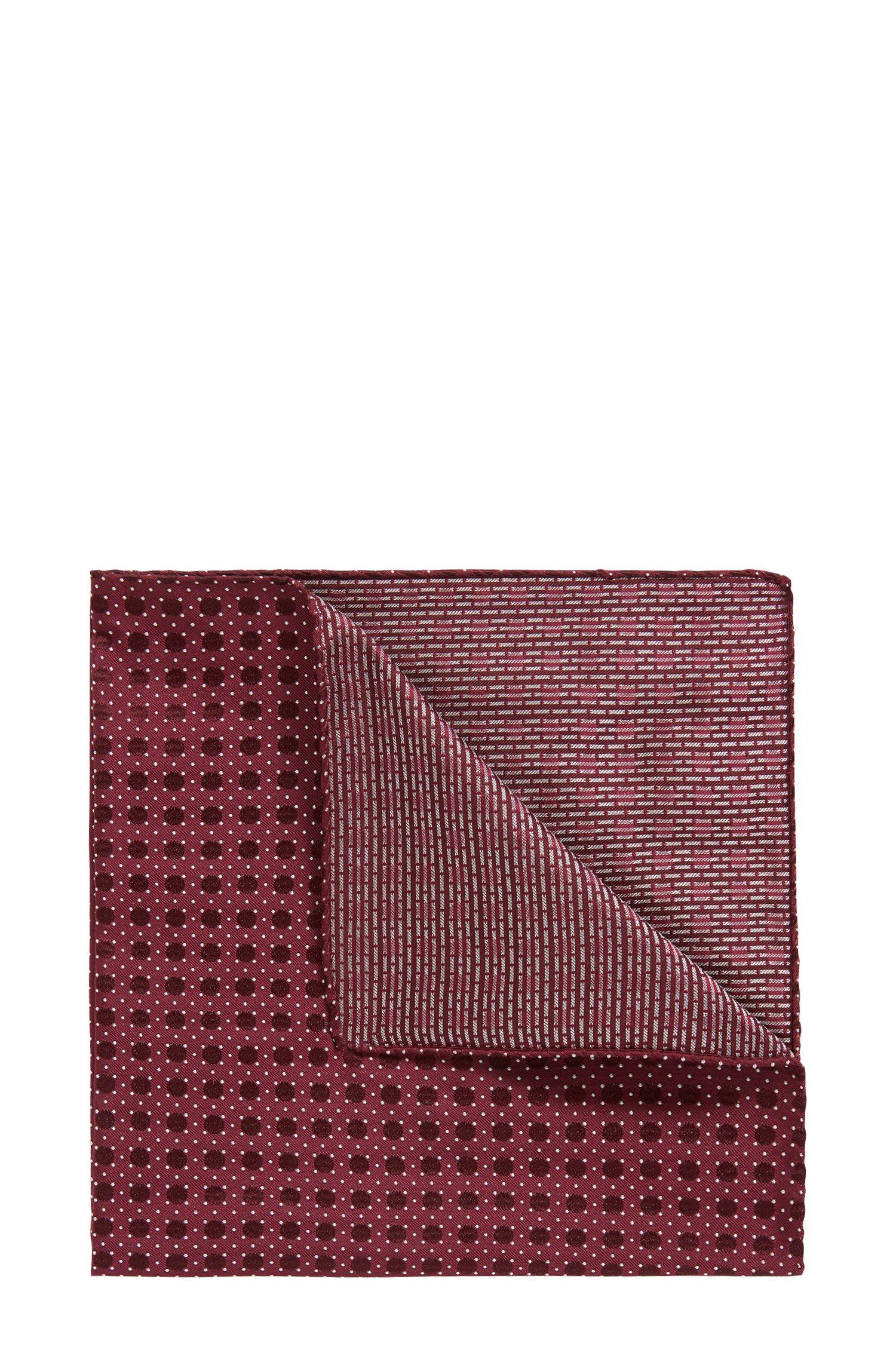 Italian-made patterned pocket square in silk jacquard, Dark Red