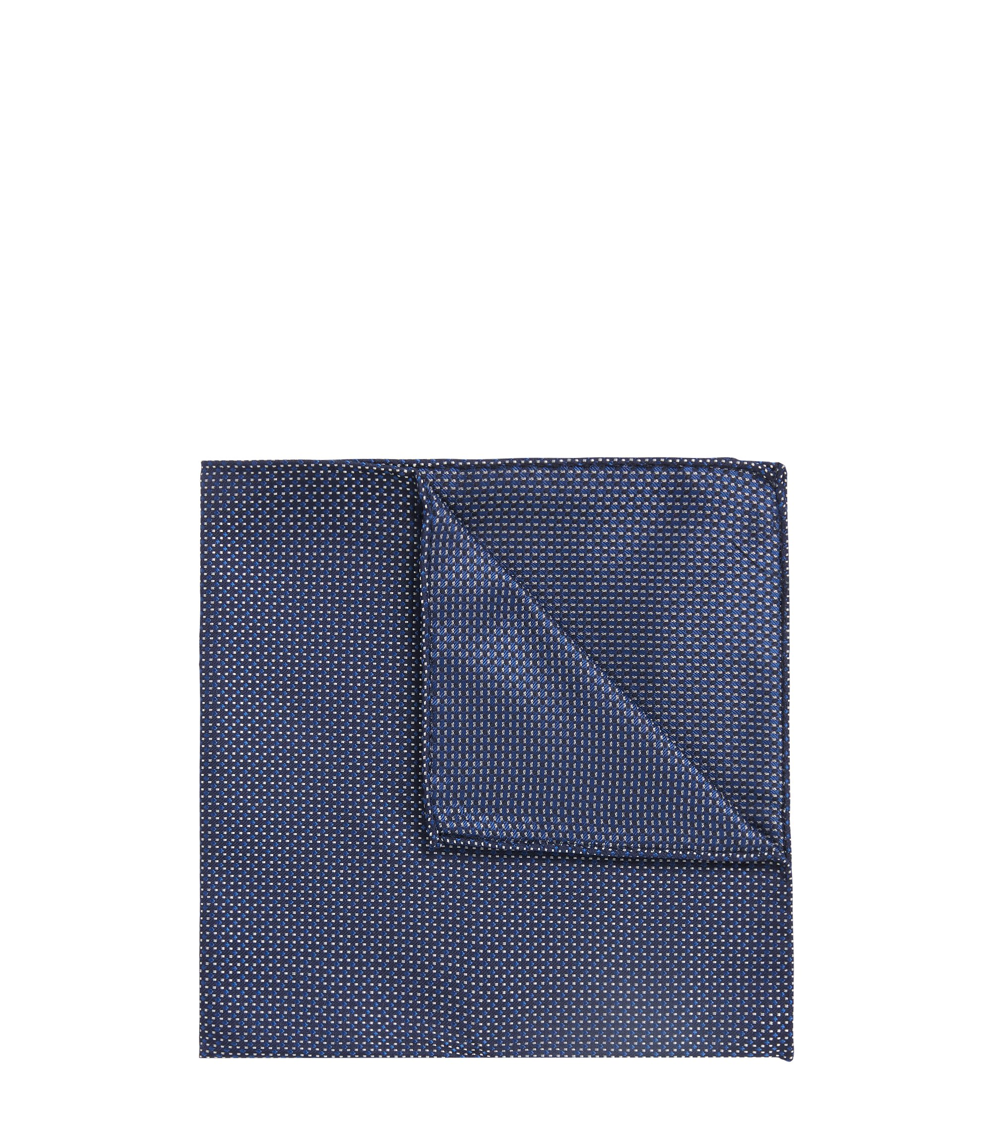 Italian-made patterned pocket square in silk jacquard, Open Blue
