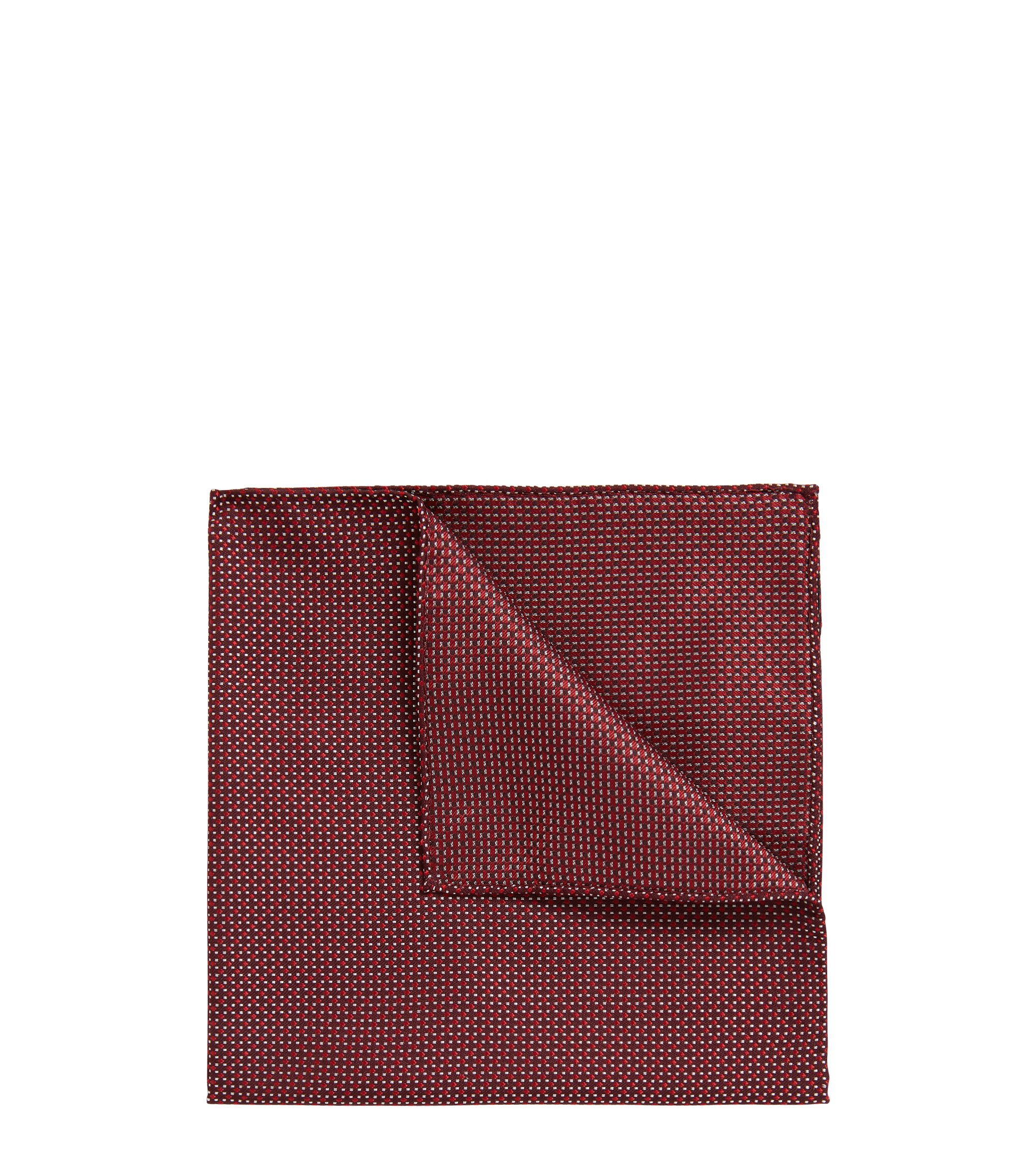 In Italien gefertigtes Einstecktuch aus gemustertem Seiden-Jacquard, Rot