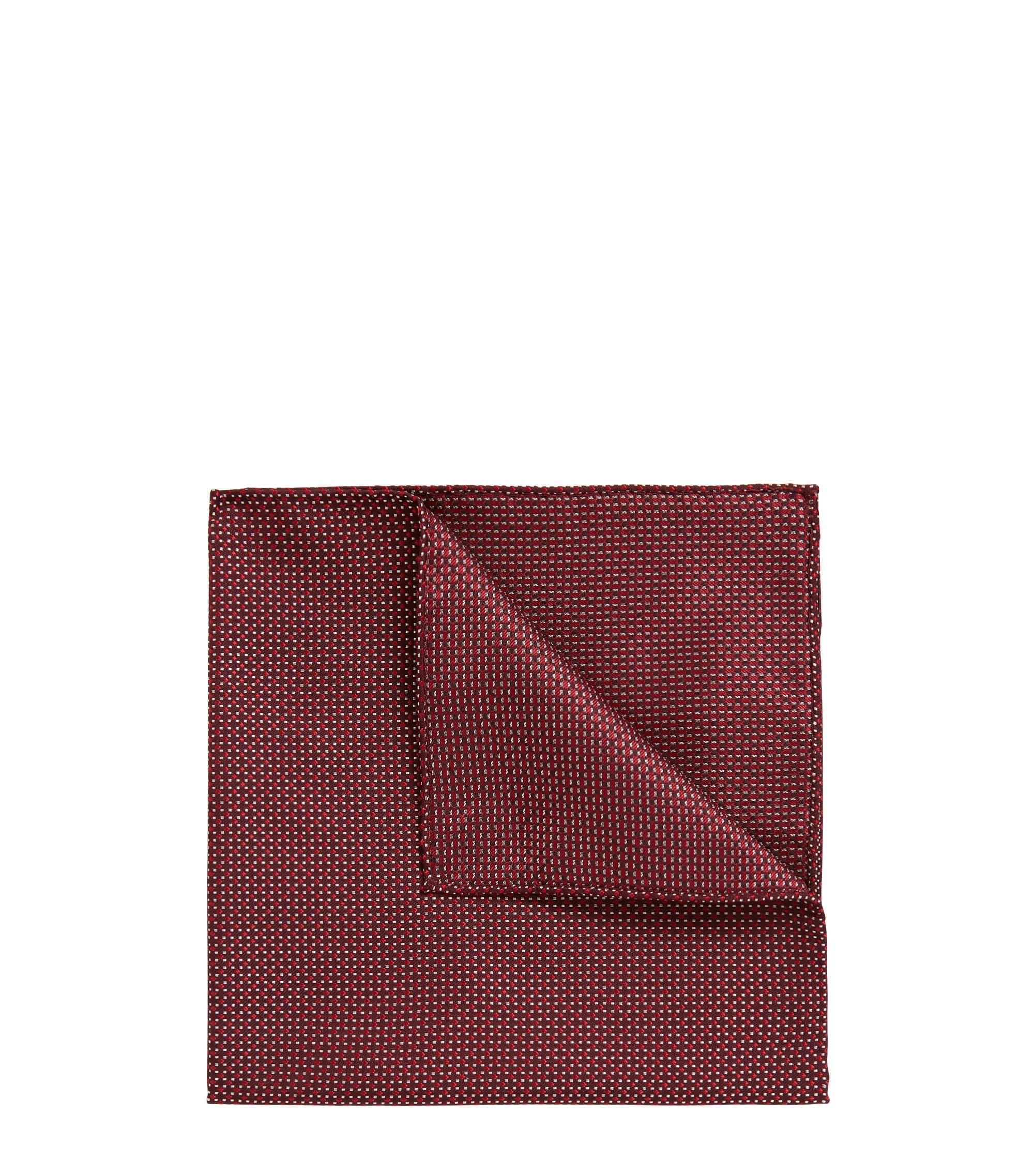Pañuelo de bolsillo estampado en jacquard de seda de fabricación italiana, Rojo