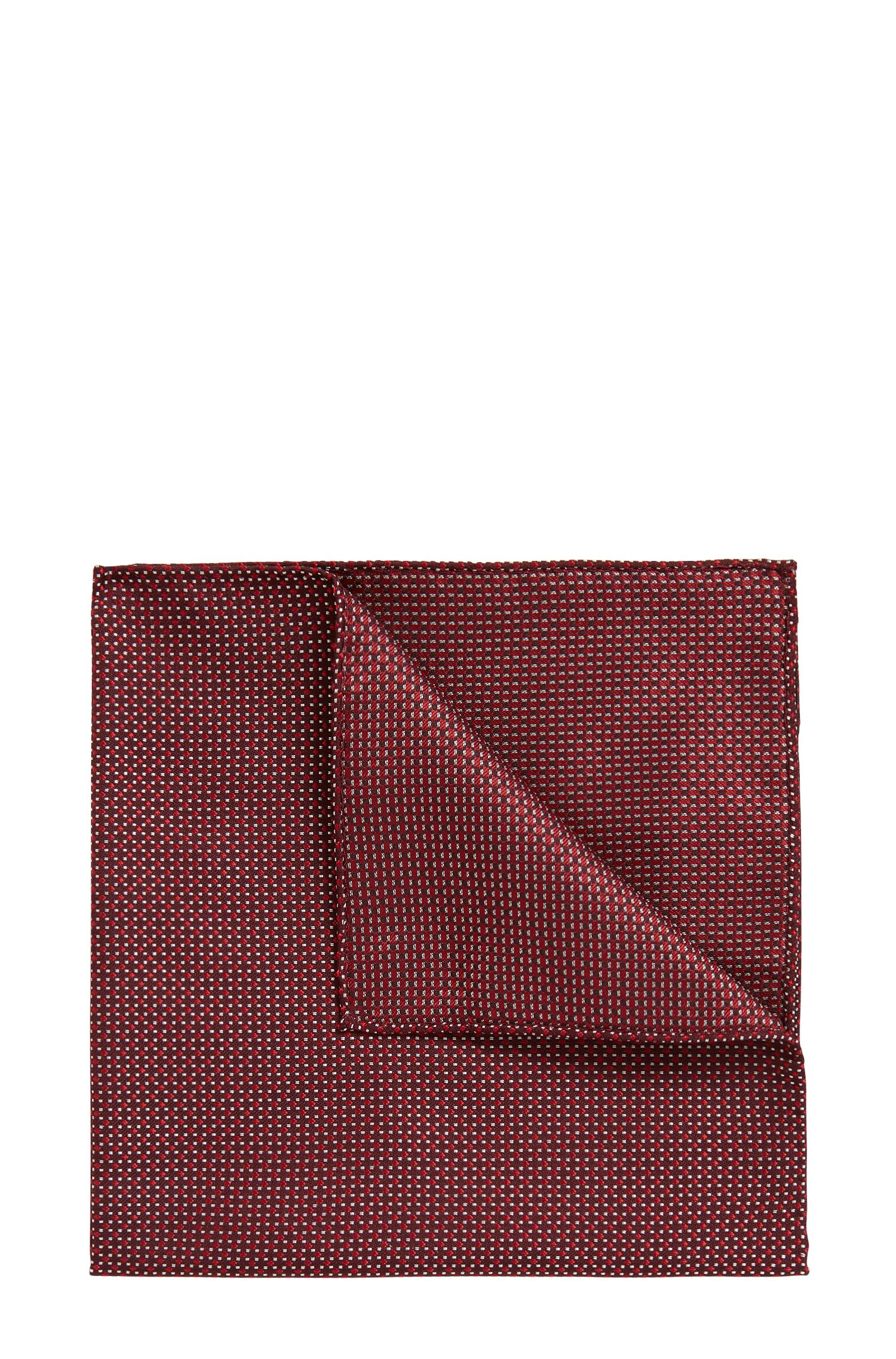 Italian-made patterned pocket square in silk jacquard, Red