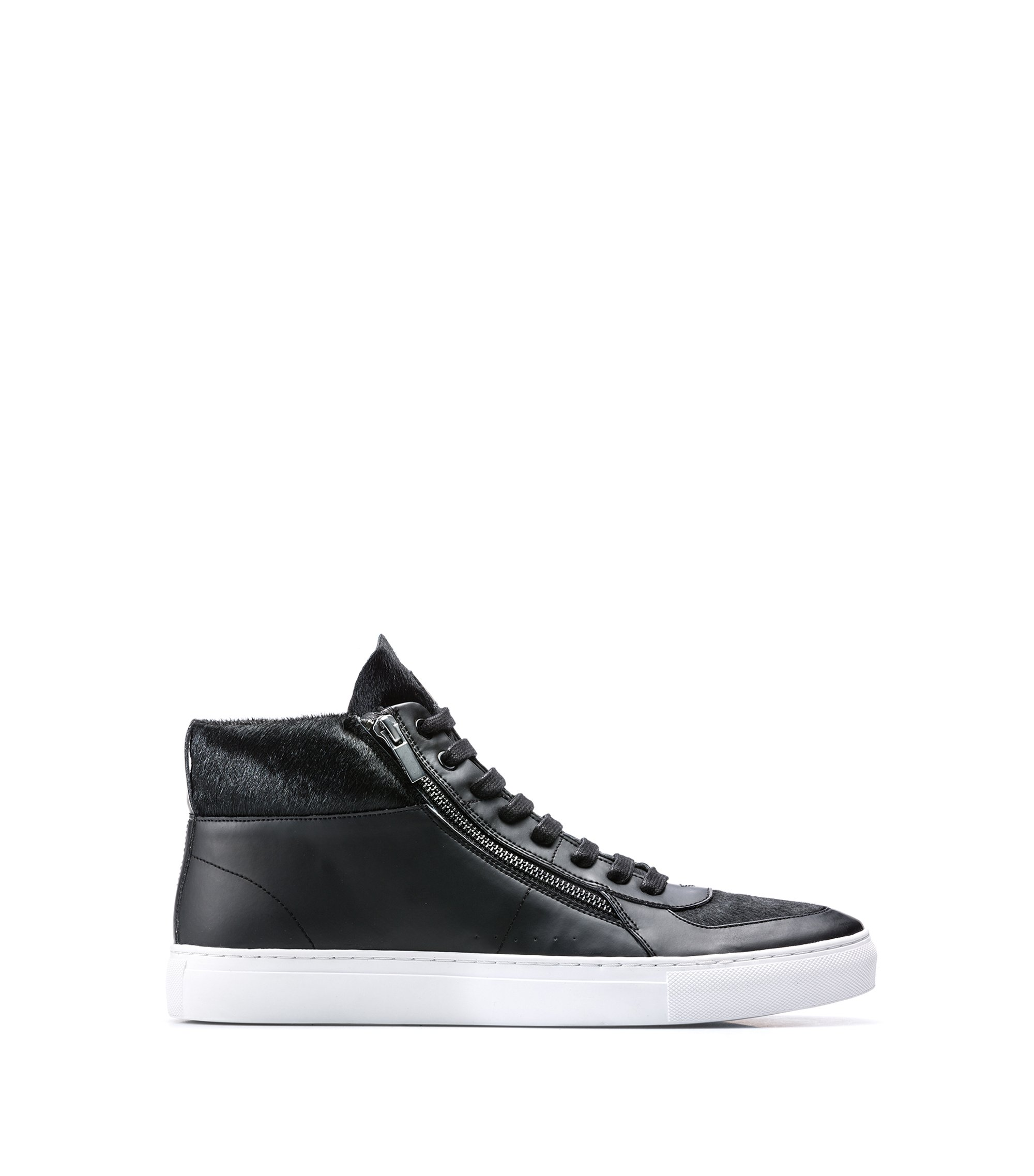 High-top trainers in calf fur and faux leather, Zwart