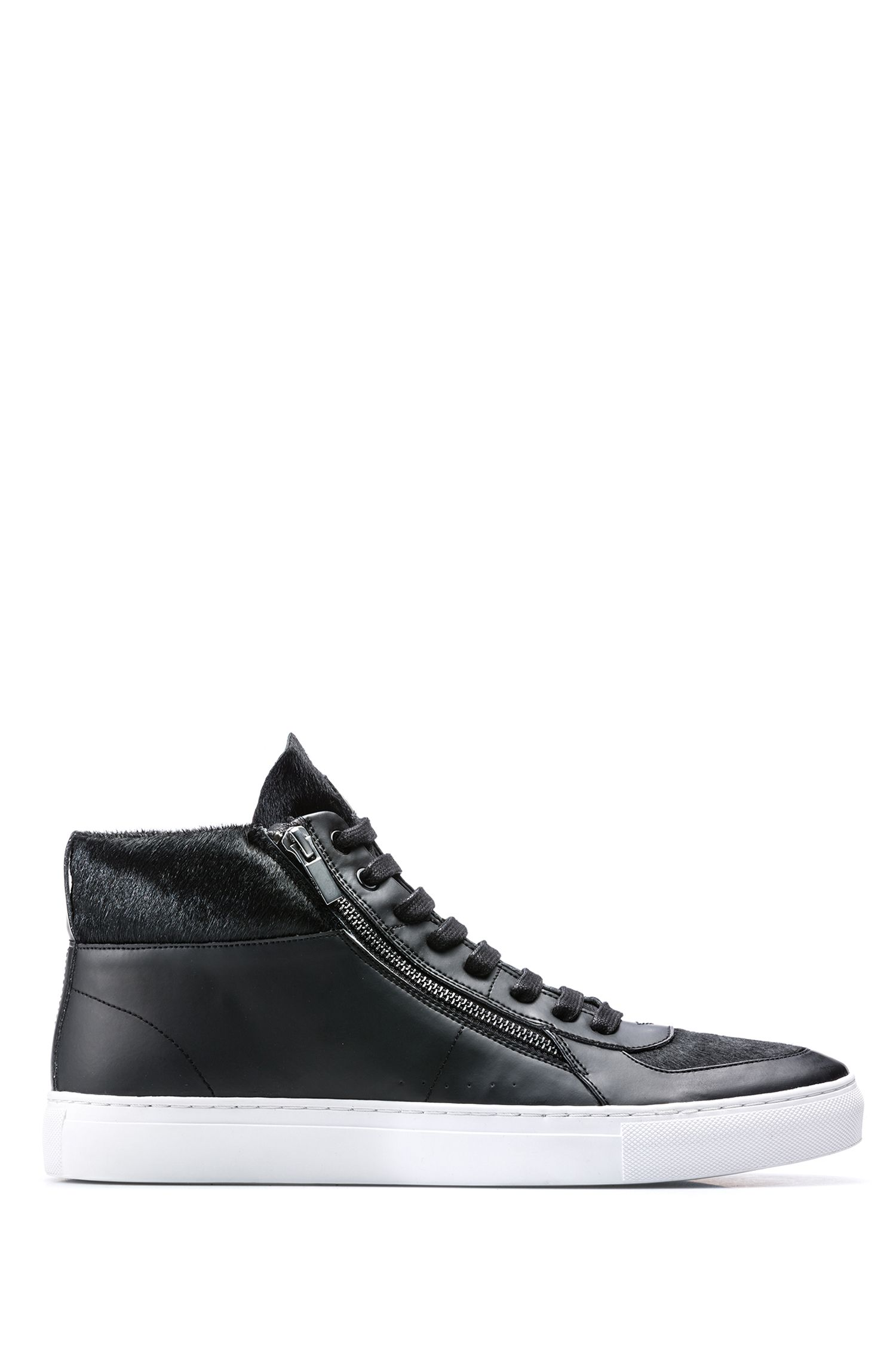 Sneakers high-top in pelliccia di vitello e similpelle, Nero