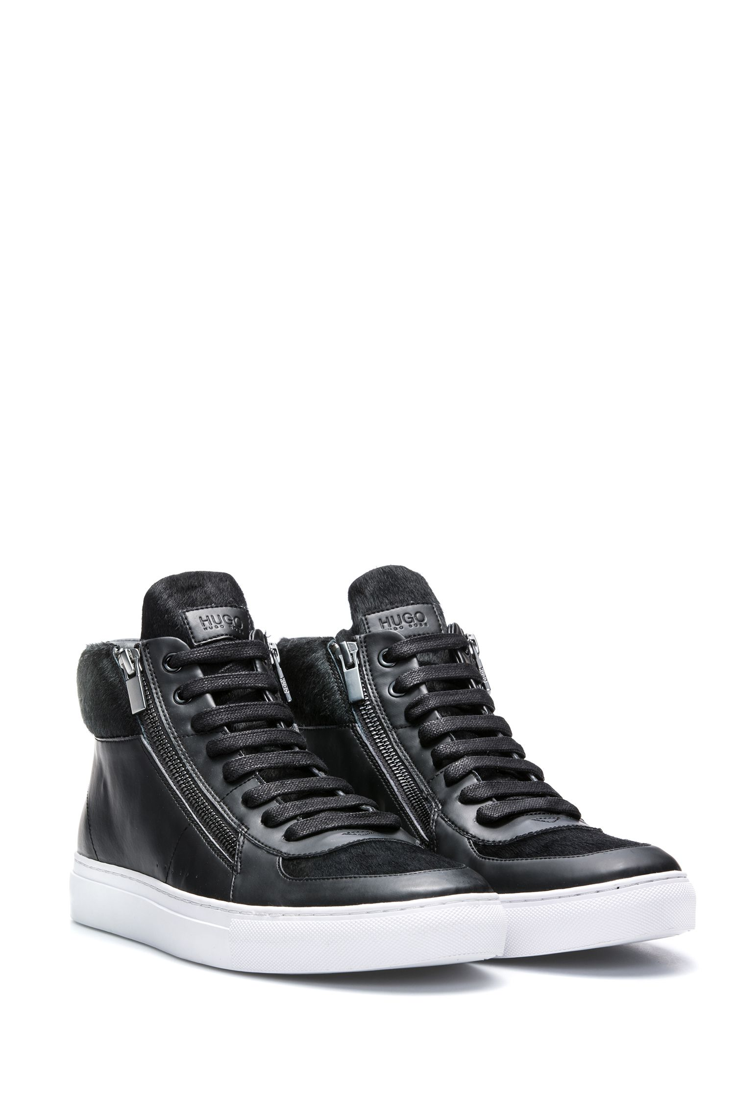 High-top trainers in calf fur and faux leather, Black