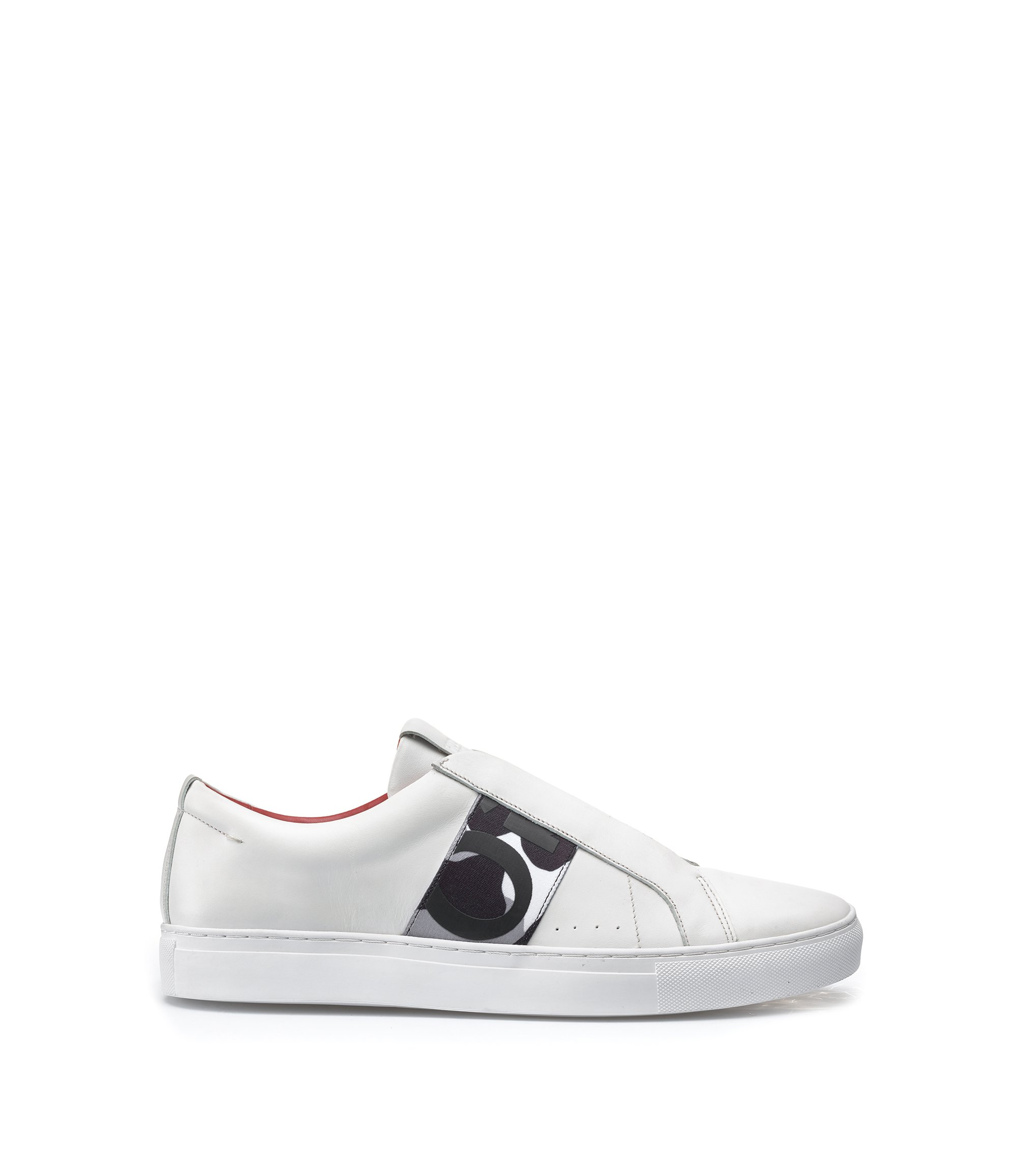 Slip-on trainers in calf leather with elastic trim, White