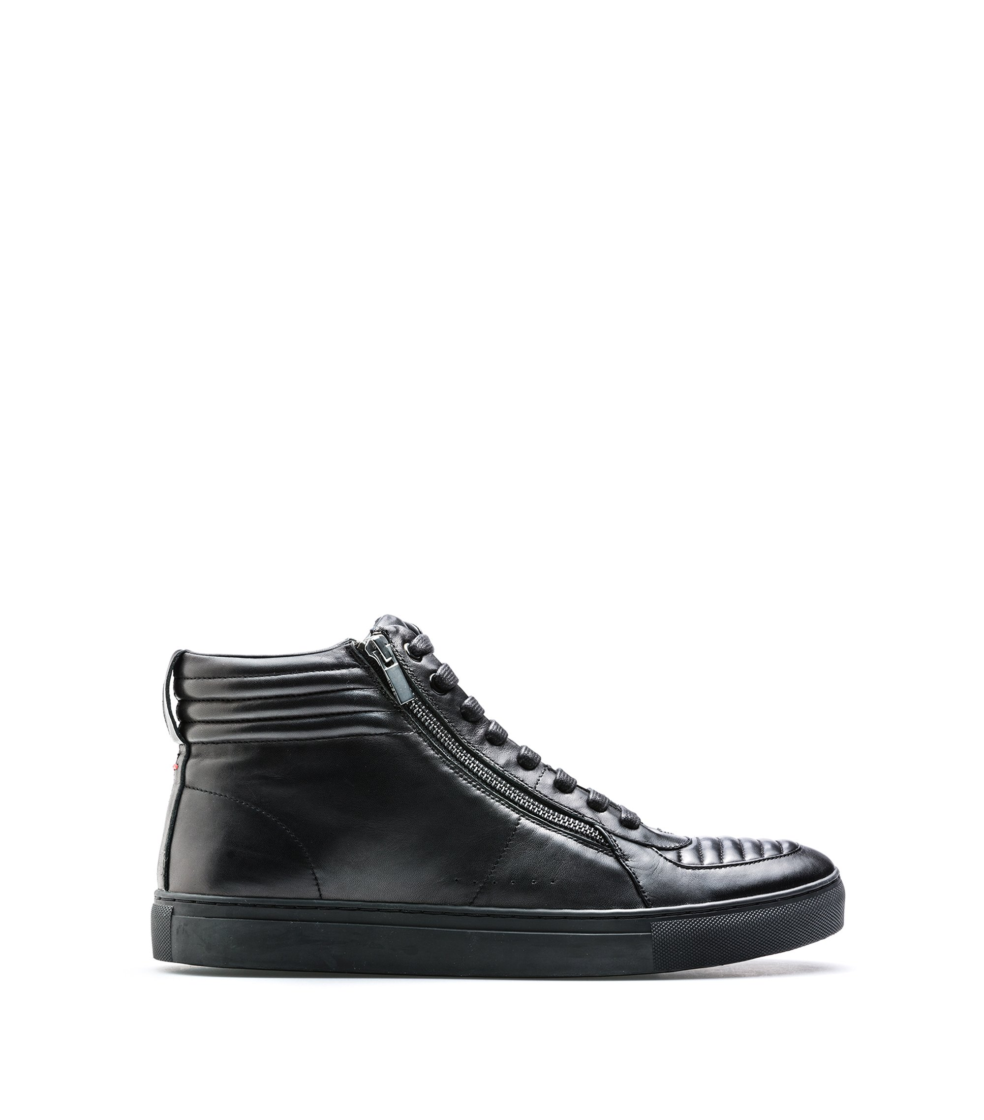 Sneakers high-top in pelle di agnello con dettagli trapuntati, Nero