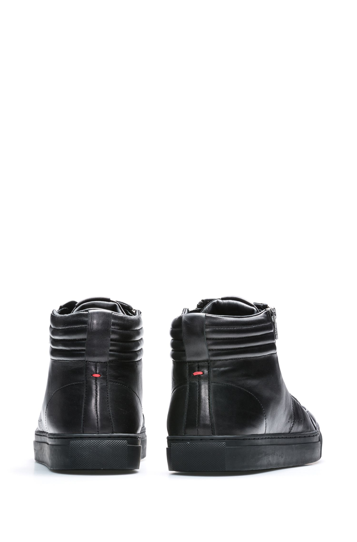 High-top trainers in lamb leather with quilting, Black