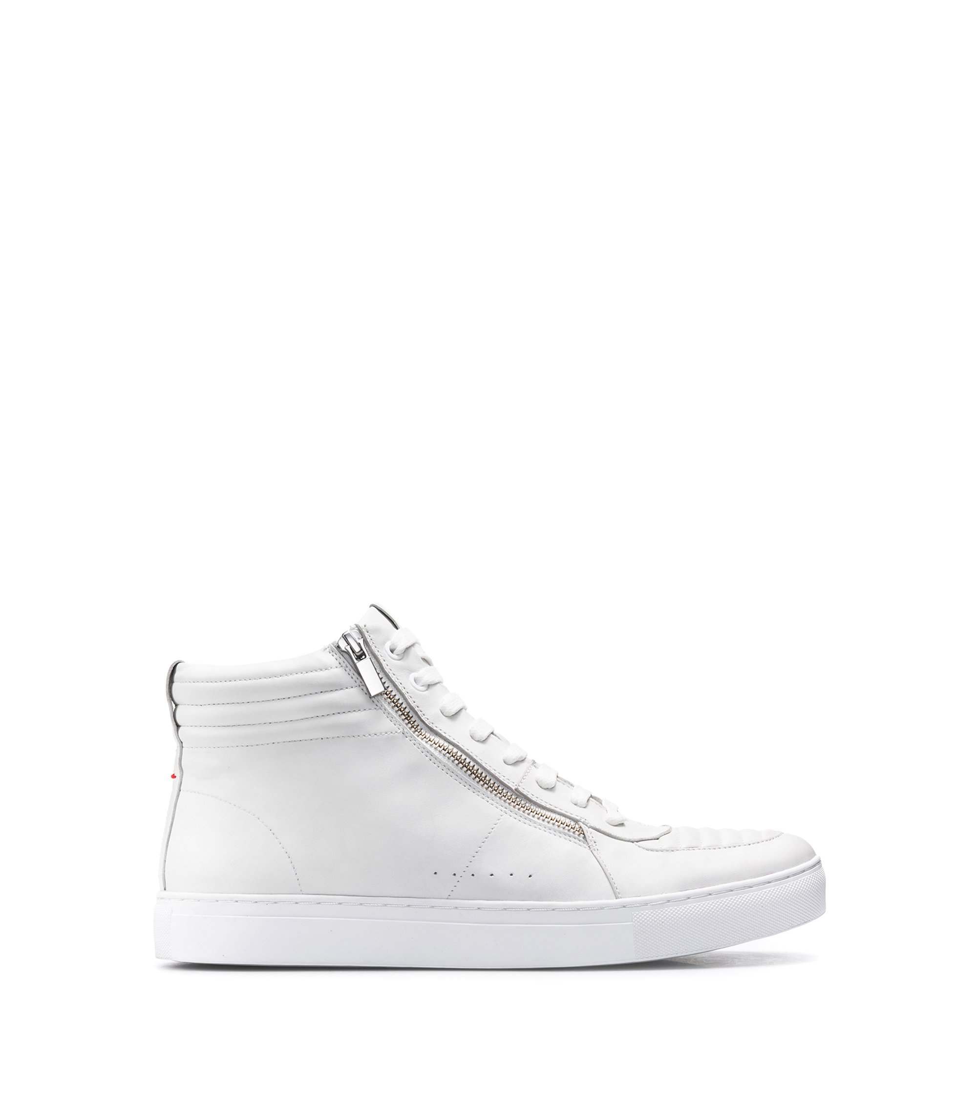 High-top trainers in lamb leather with quilting, White