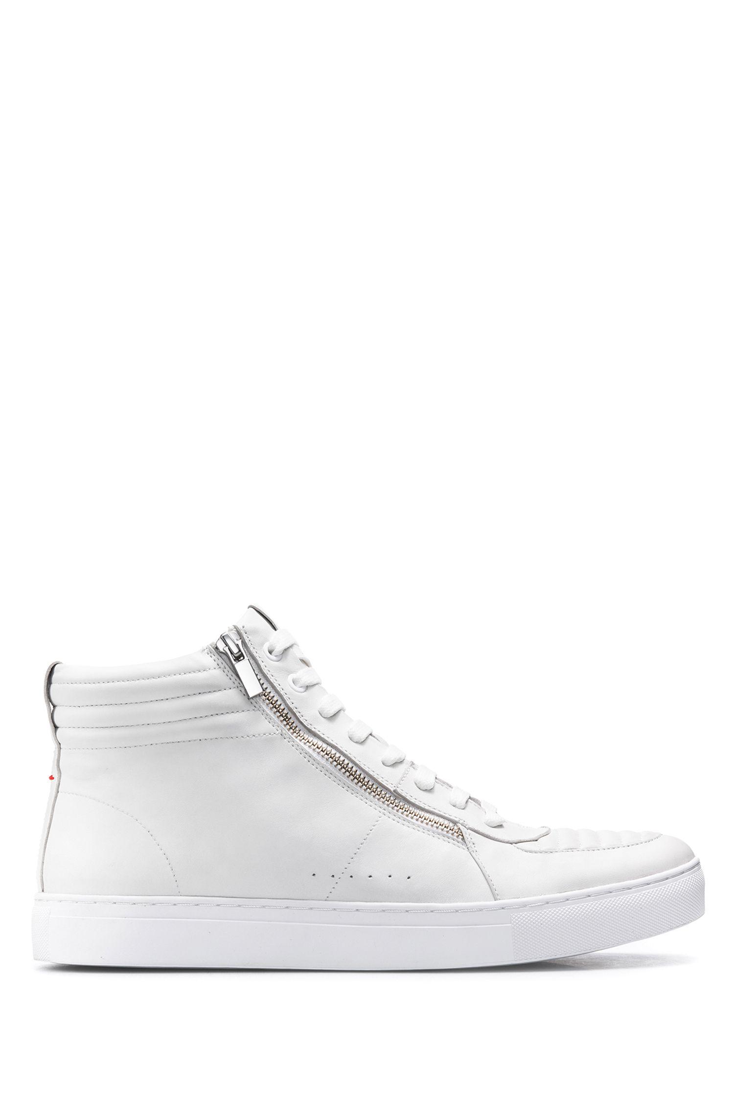 Hightop Sneakers aus Leder mit Absteppungen, Weiß