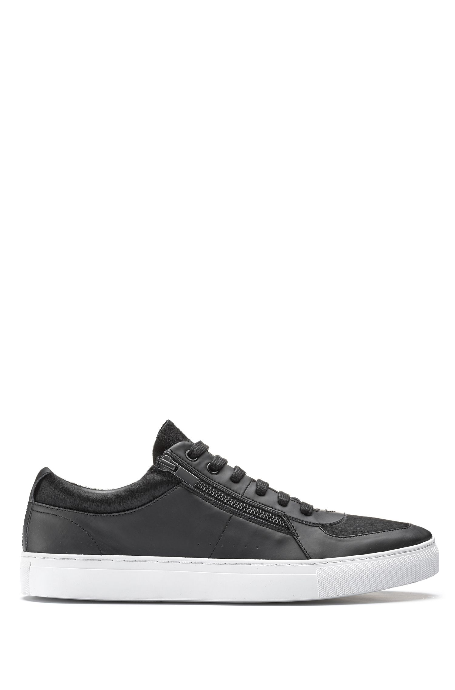 Low-top trainers in calf fur and faux leather
