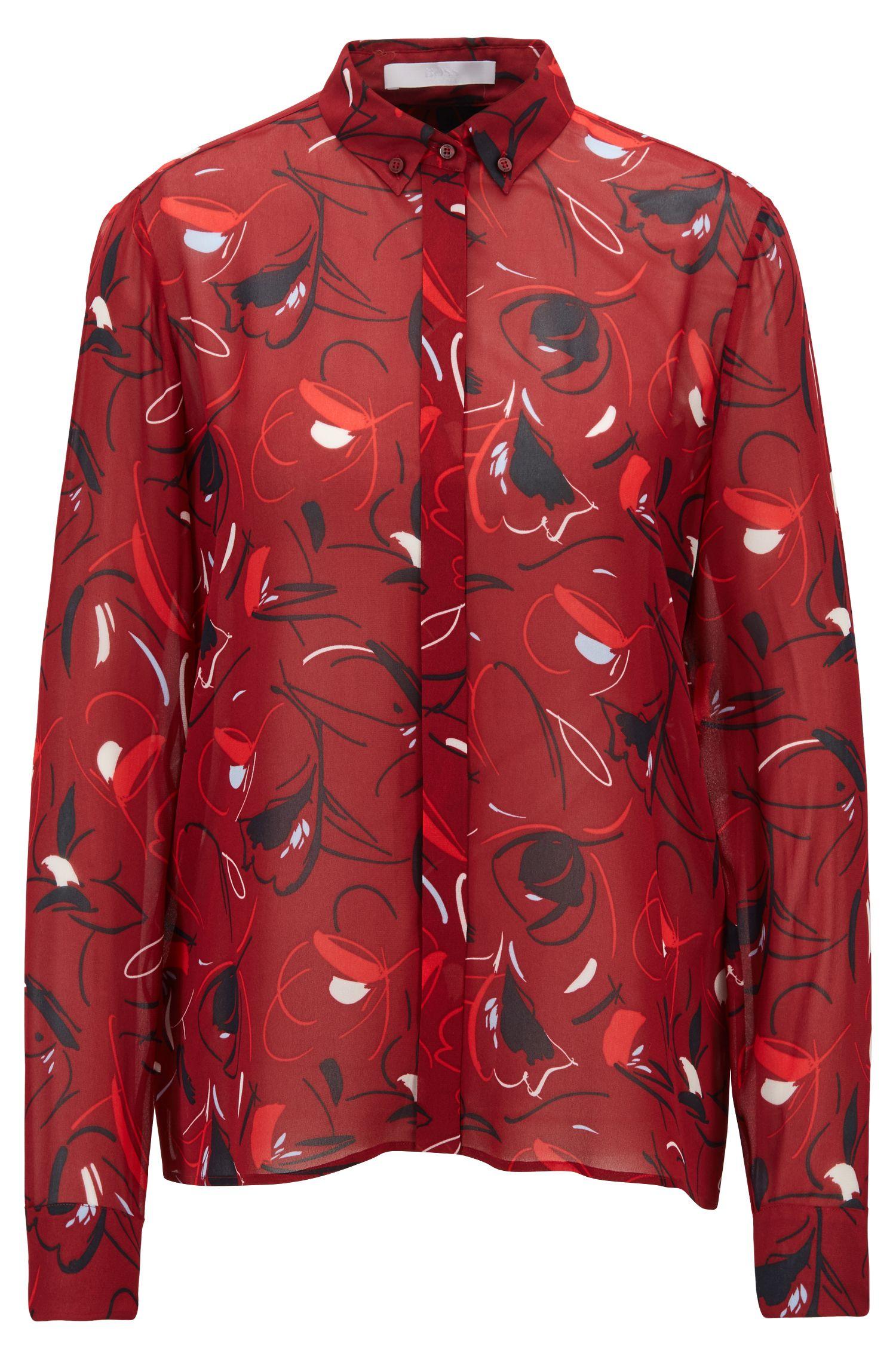 Blusa relaxed fit en tejido italiano estampado, Fantasía