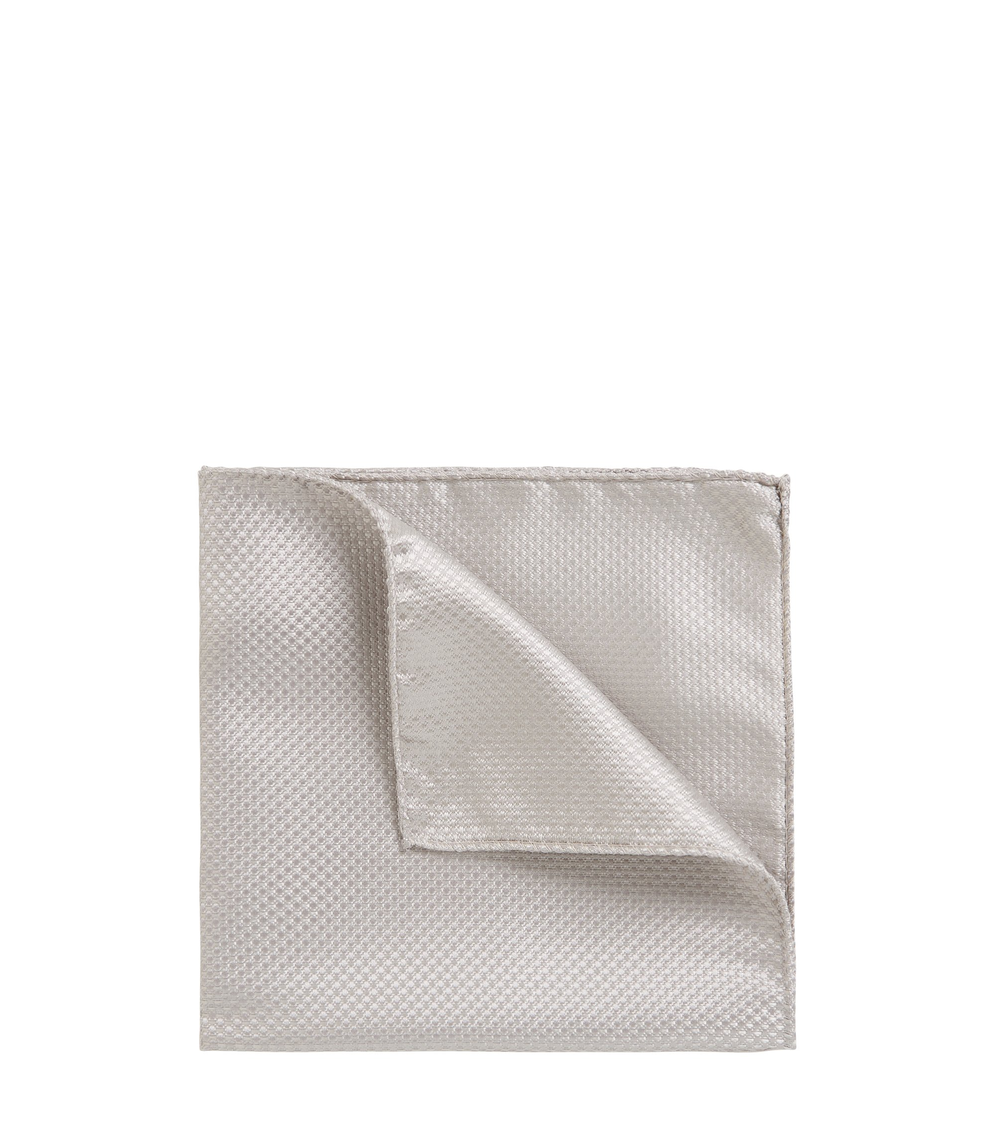 Italian-made pocket square in lustrous silk jacquard, Open Grey