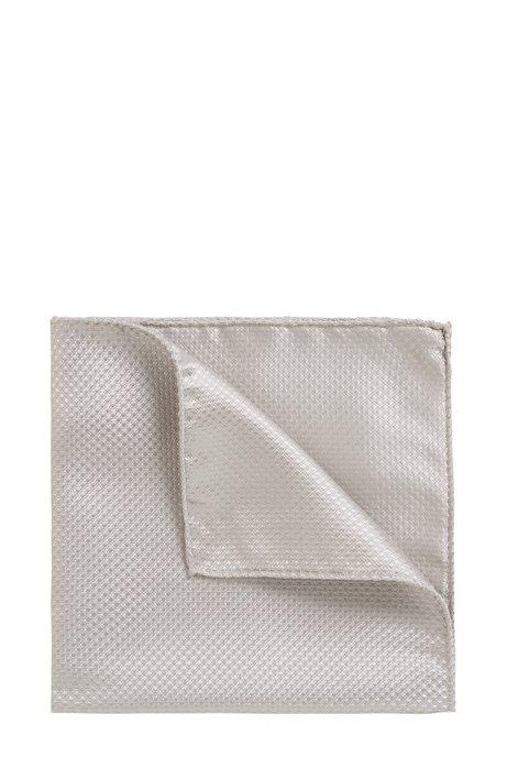 Italian-made pocket square in lustrous silk jacquard BOSS 1OBxghfL