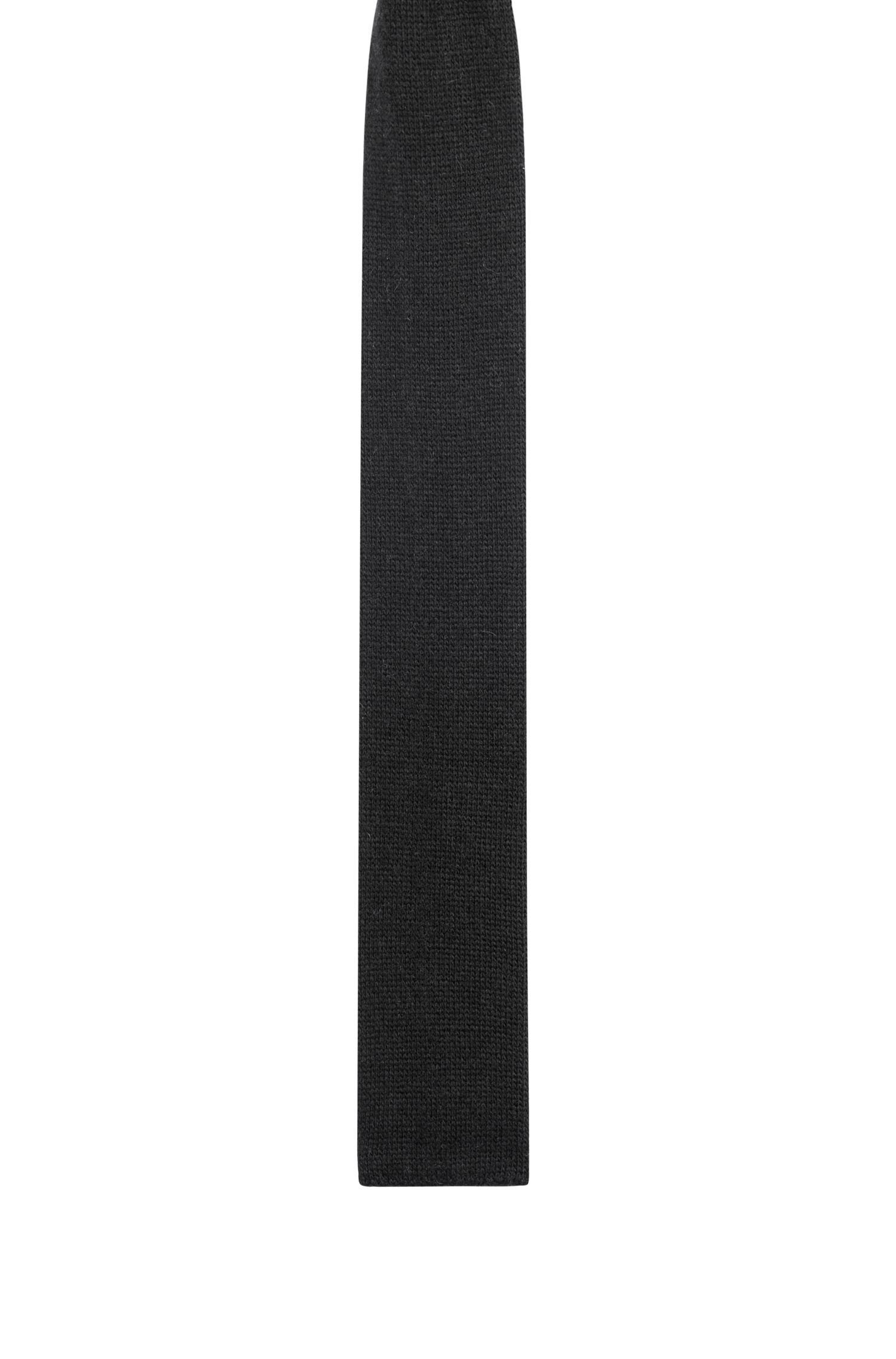 Gebreide stropdas van een wolmix met recht uiteinde, Zwart