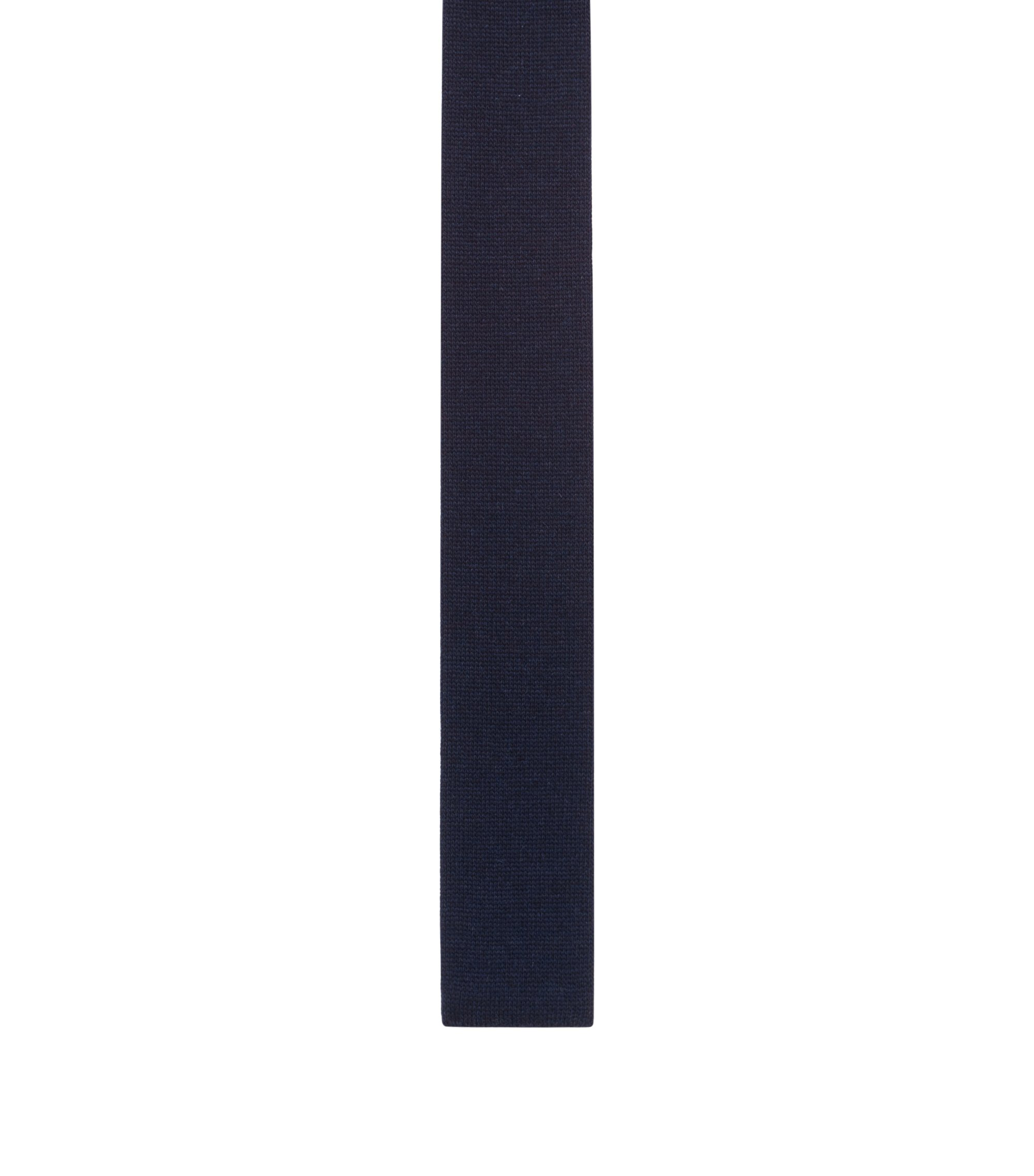 Knitted wool-blend tie with squared end, Dark Blue