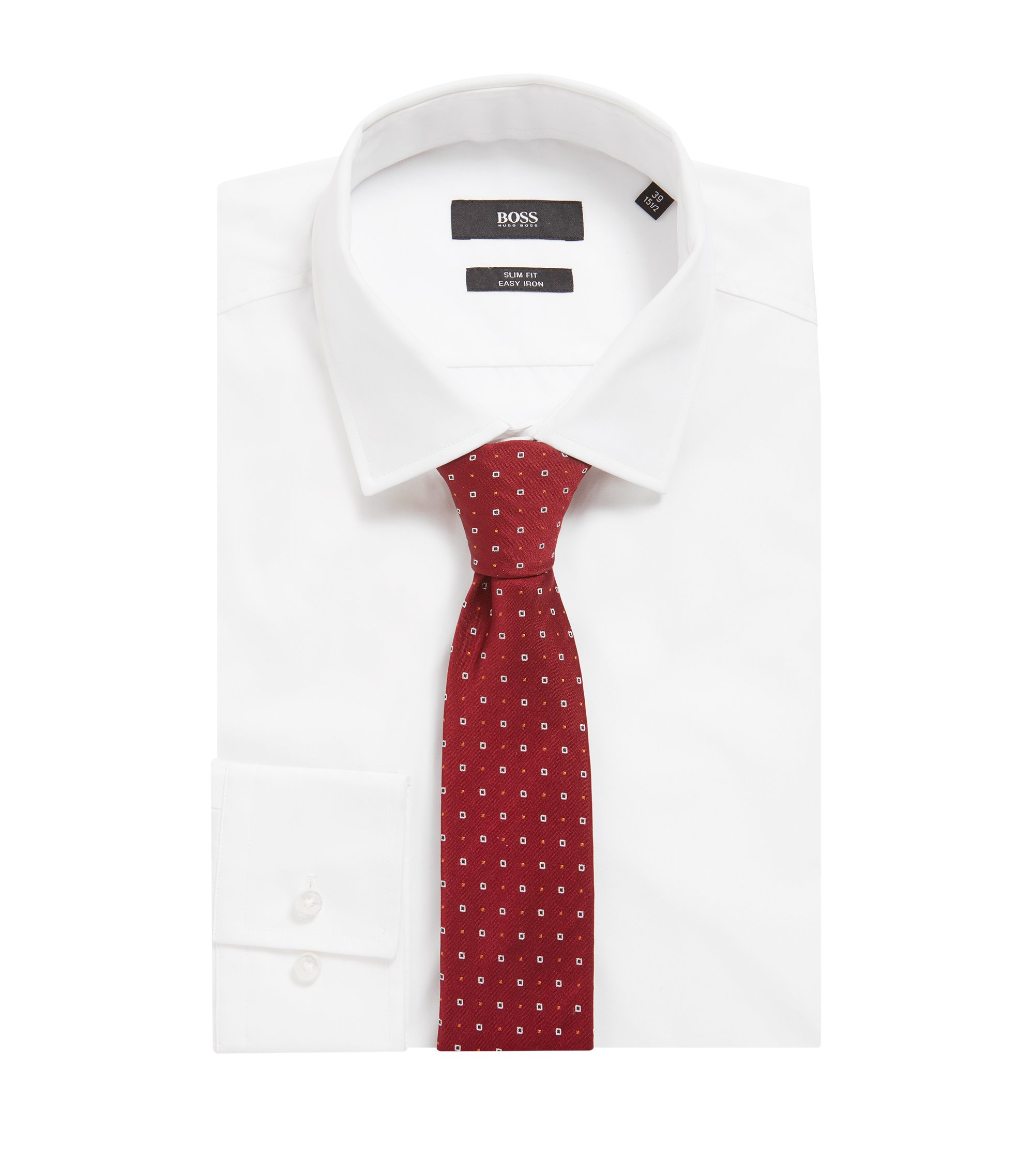 Zijden stropdas met kleine stippen en vierkanten, Donkerrood