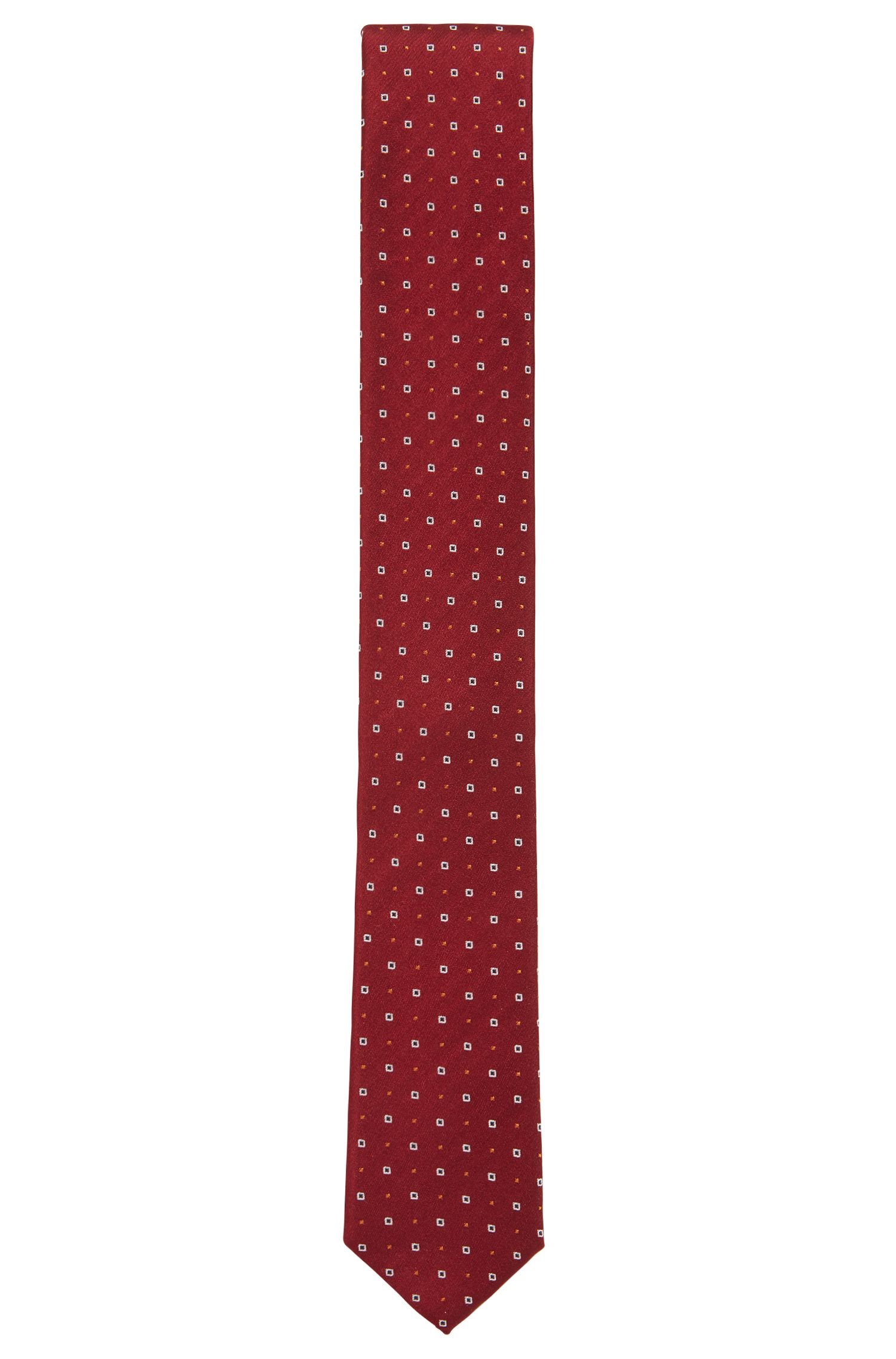Silk tie with miniature dots and squares, Dark Red